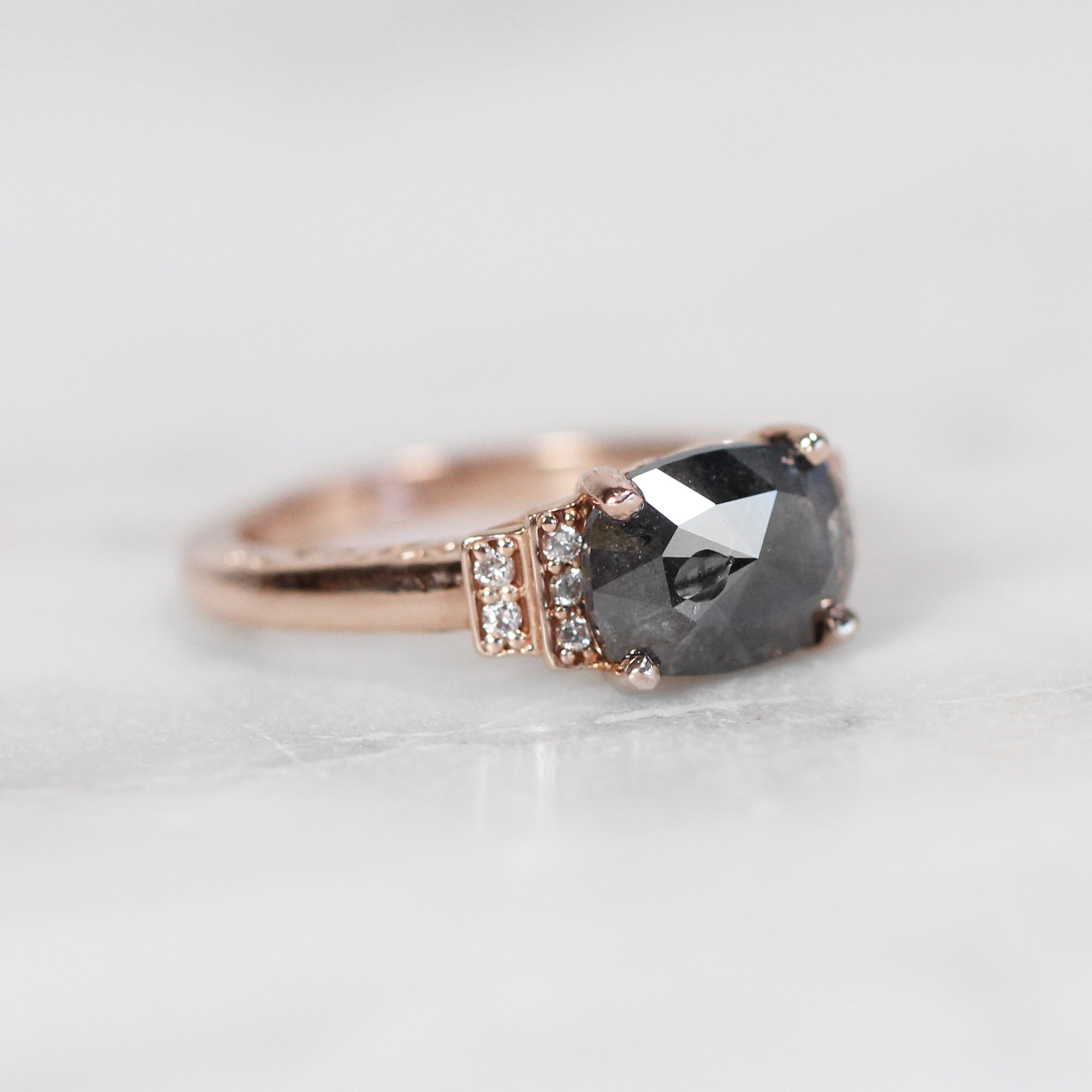Isadora Ring with a .90ct Dark Celestial Oval Diamond and Diamond Accents in 10k Rose Gold - ready to size and ship* - Celestial Diamonds ® by Midwinter Co.