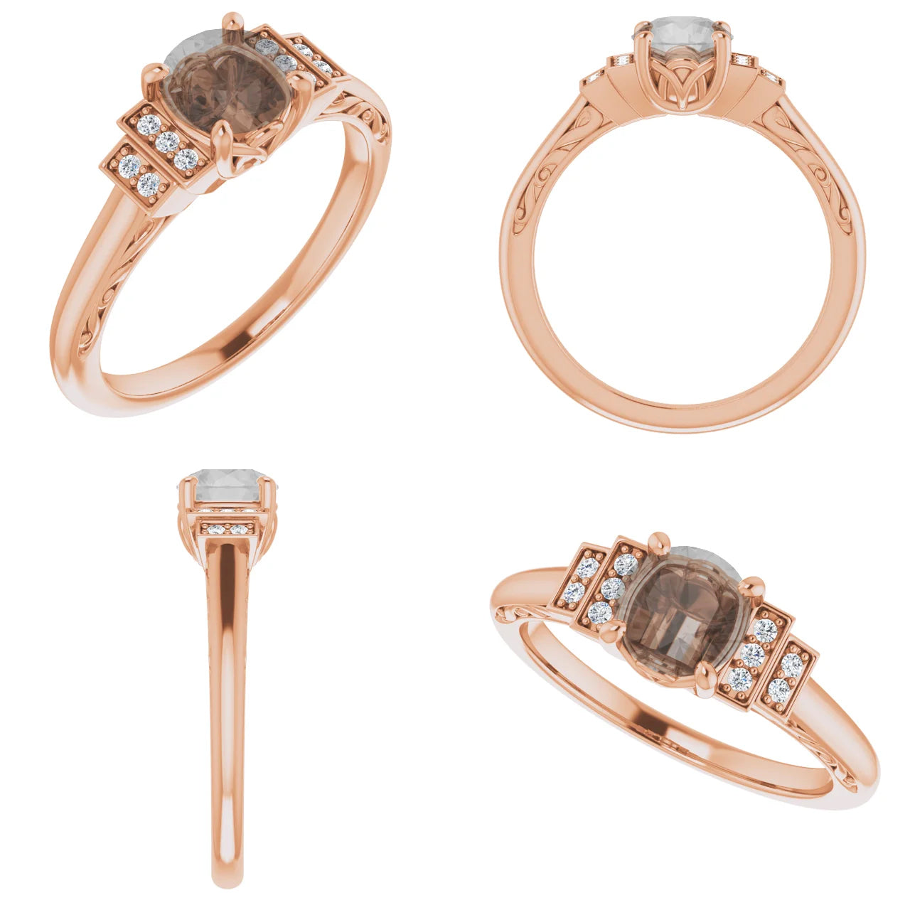 Isadora Setting - Salt & Pepper Celestial Diamond Engagement Rings and Wedding Bands  by Midwinter Co.