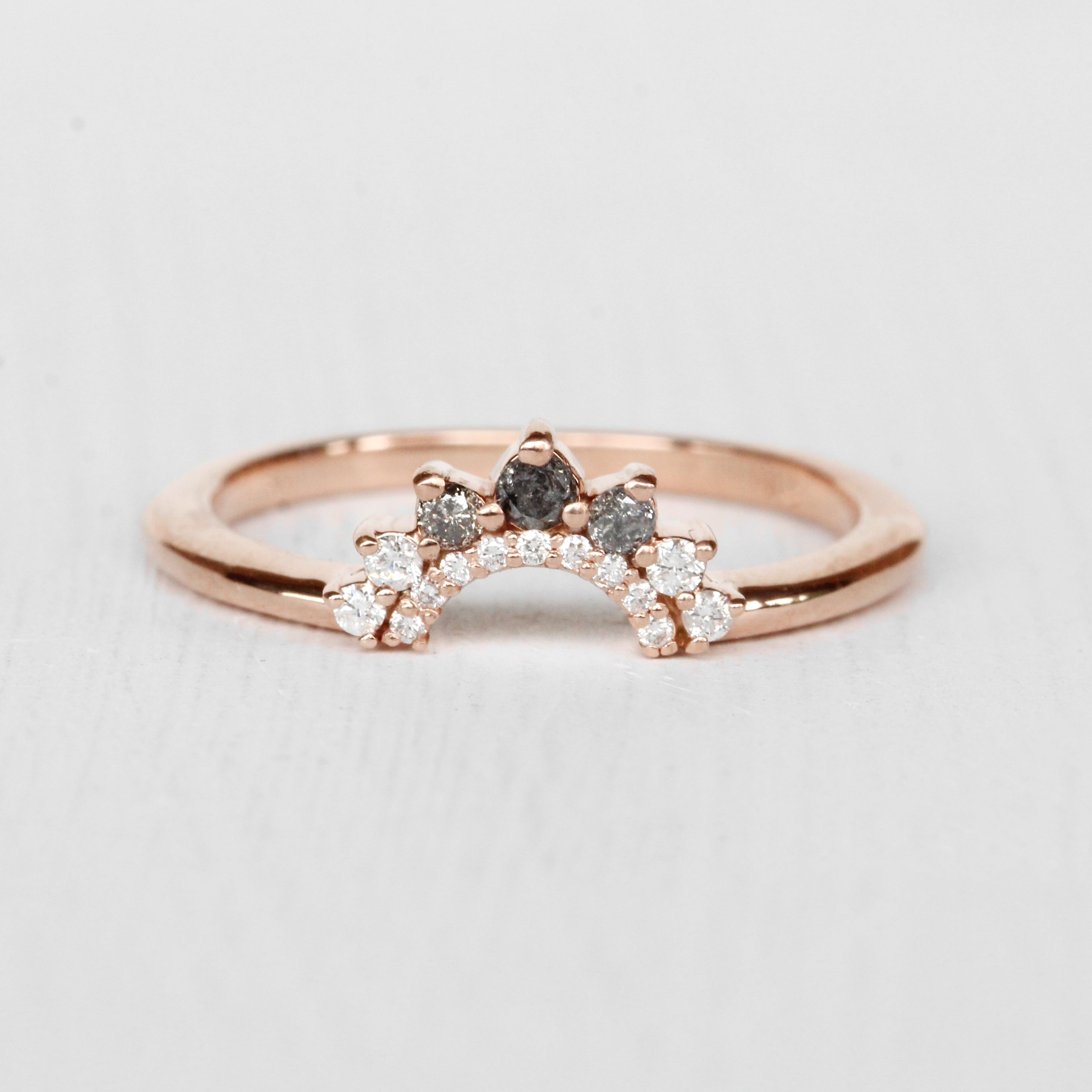 Ilsa - Contoured Celestial + White Diamond Wedding Stacking Band - made to order