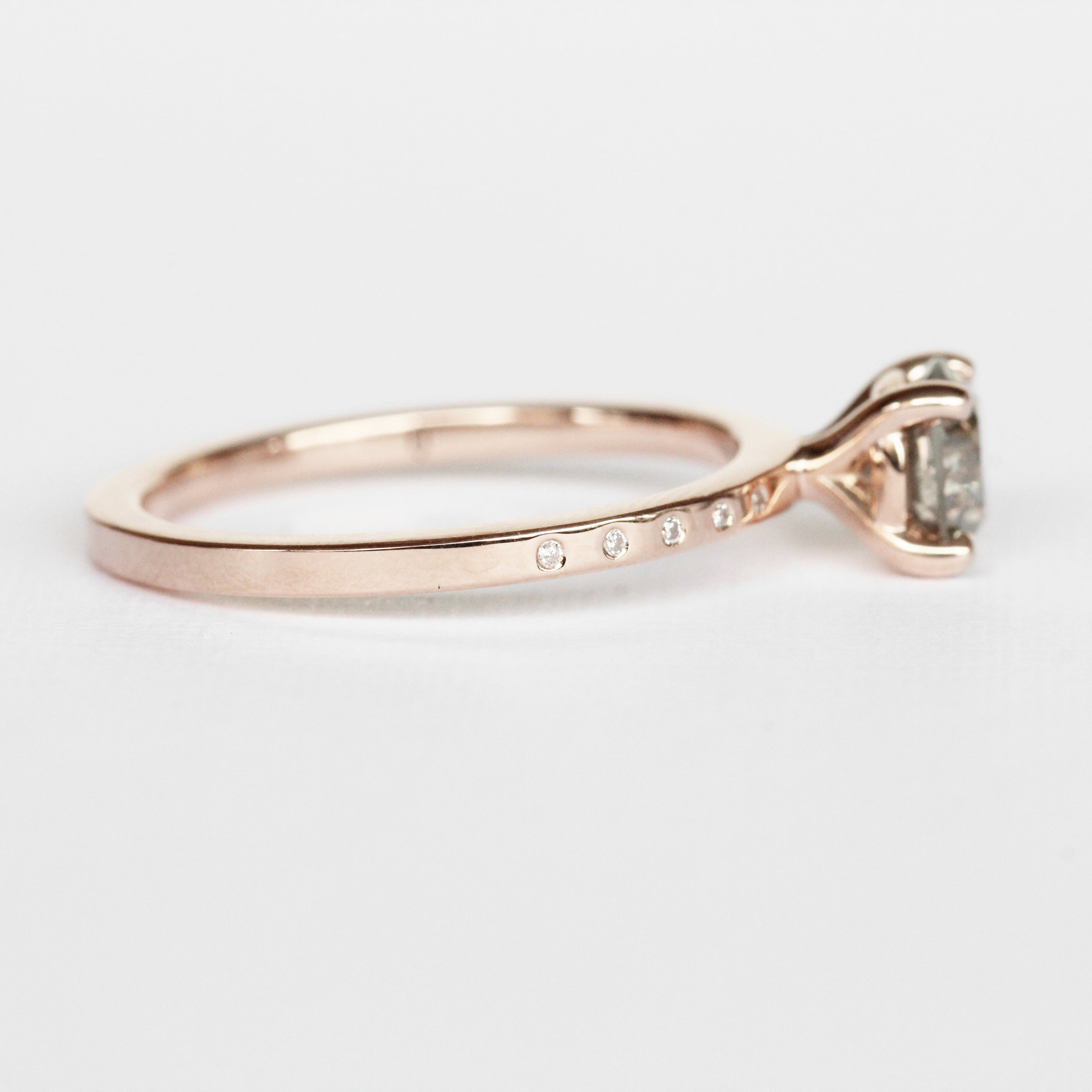 Heath Ring with an .80 ct Celestial Diamond in 14k Rose Gold - Ready to Size and Ship - Salt & Pepper Celestial Diamond Engagement Rings and Wedding Bands  by Midwinter Co.