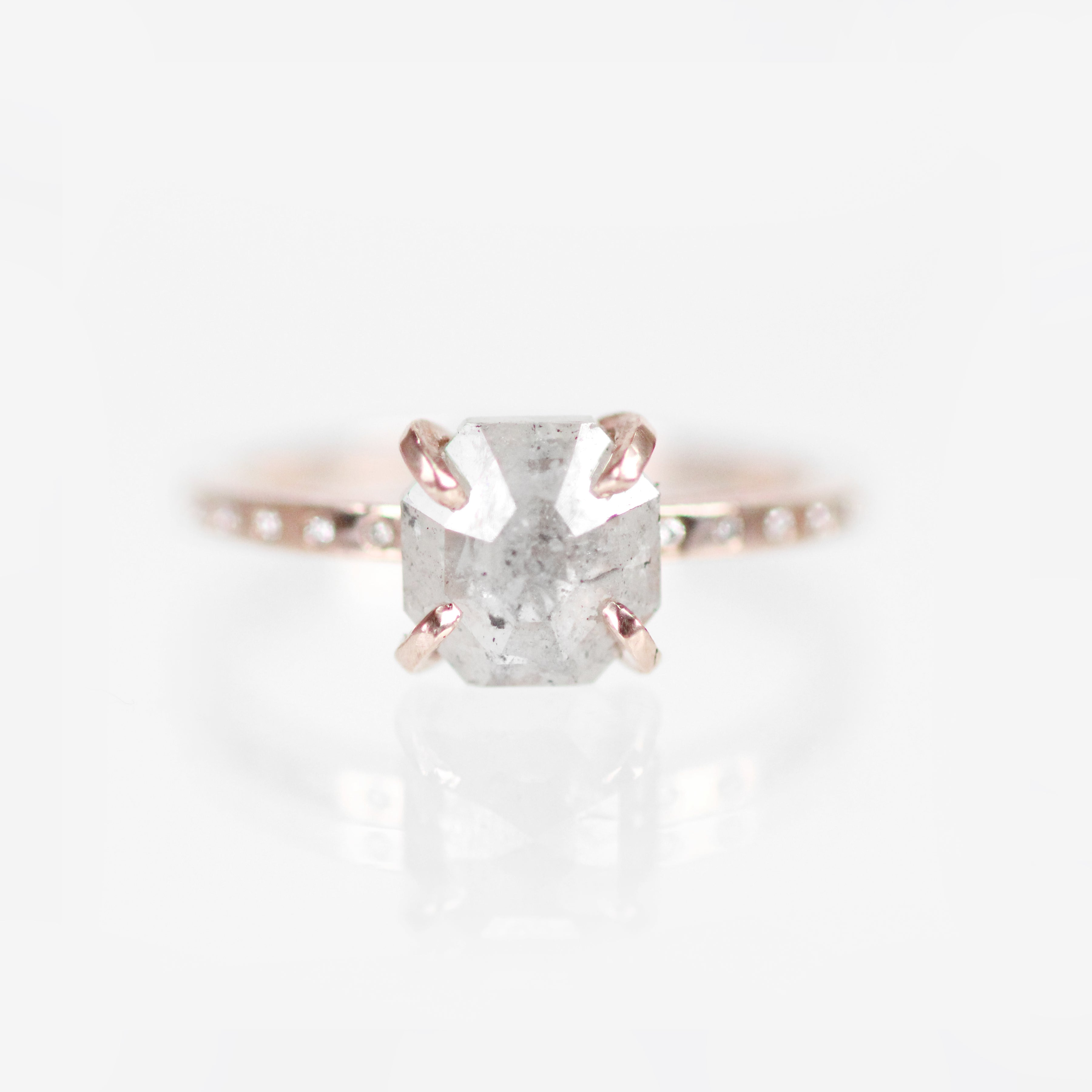 Ivan Ring with Misty White Diamond in 10k Rose Gold - Ready to Size and Ship