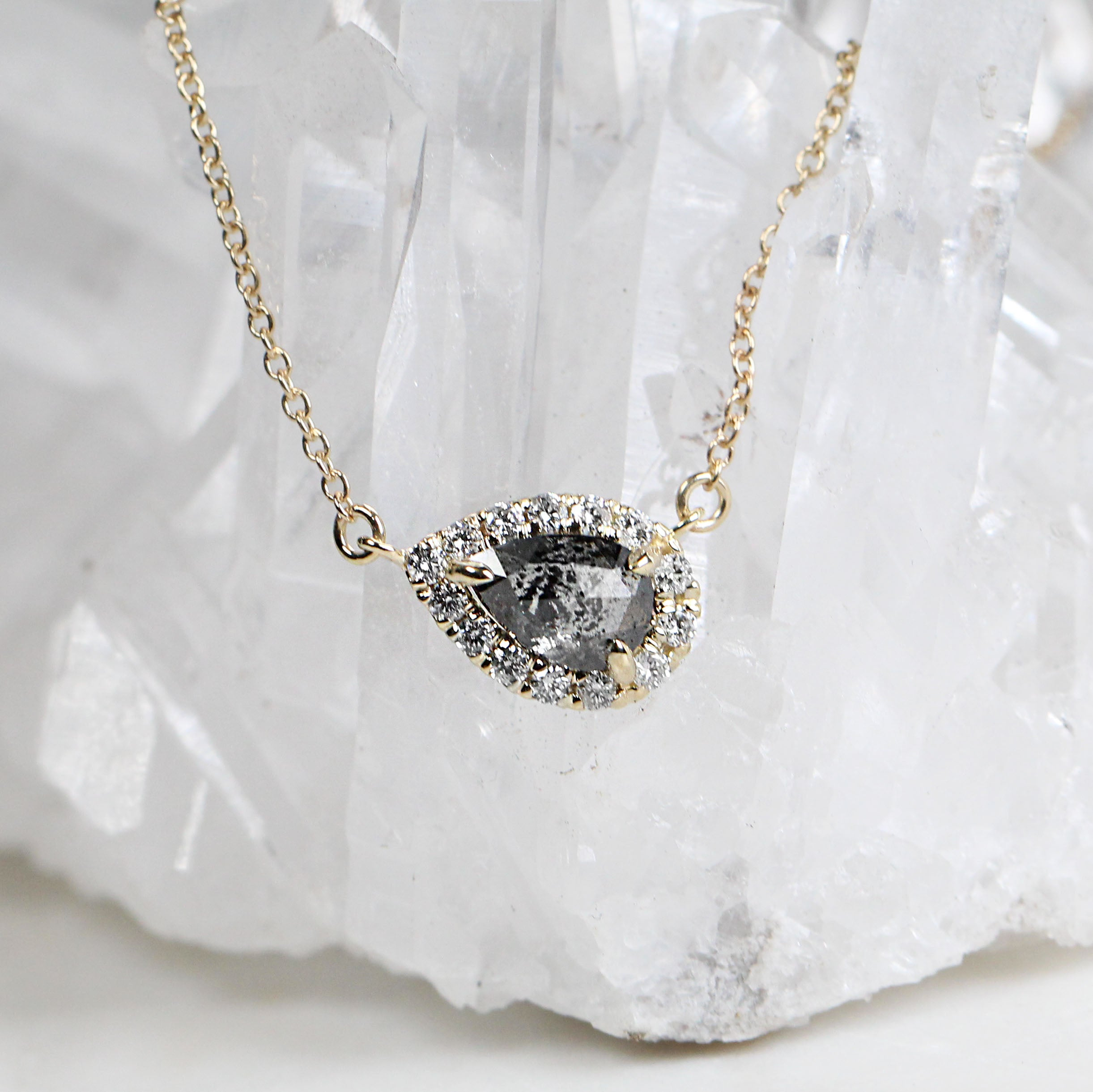Jeanie Necklace with .87 Carat Pear Celestial Diamond in 14k Yellow Gold - Celestial Diamonds ® by Midwinter Co.