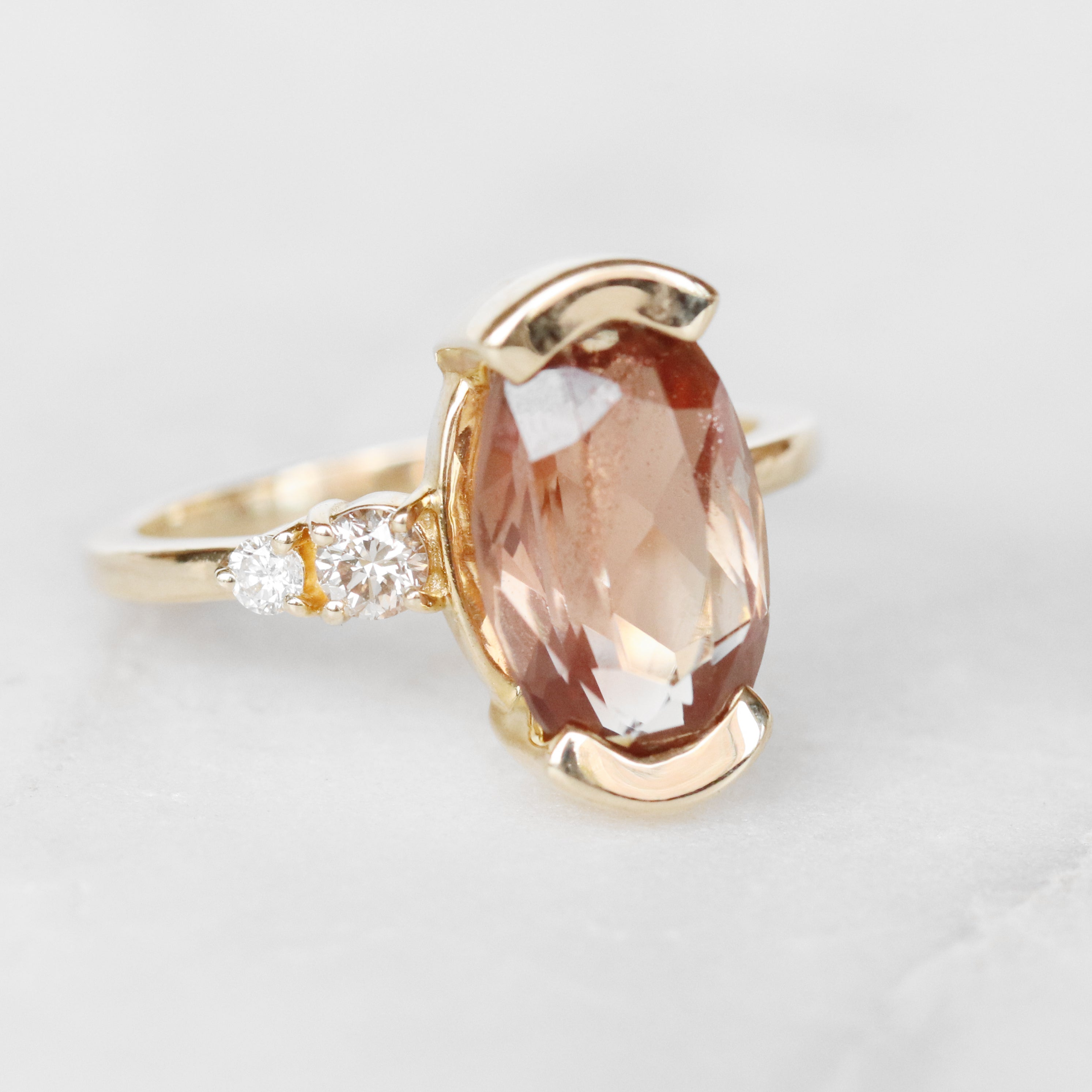 Jesse Ring with 3.34ct Sunstone and Diamonds in 10k Yellow Gold - Ready to Size and Ship - Salt & Pepper Celestial Diamond Engagement Rings and Wedding Bands  by Midwinter Co.