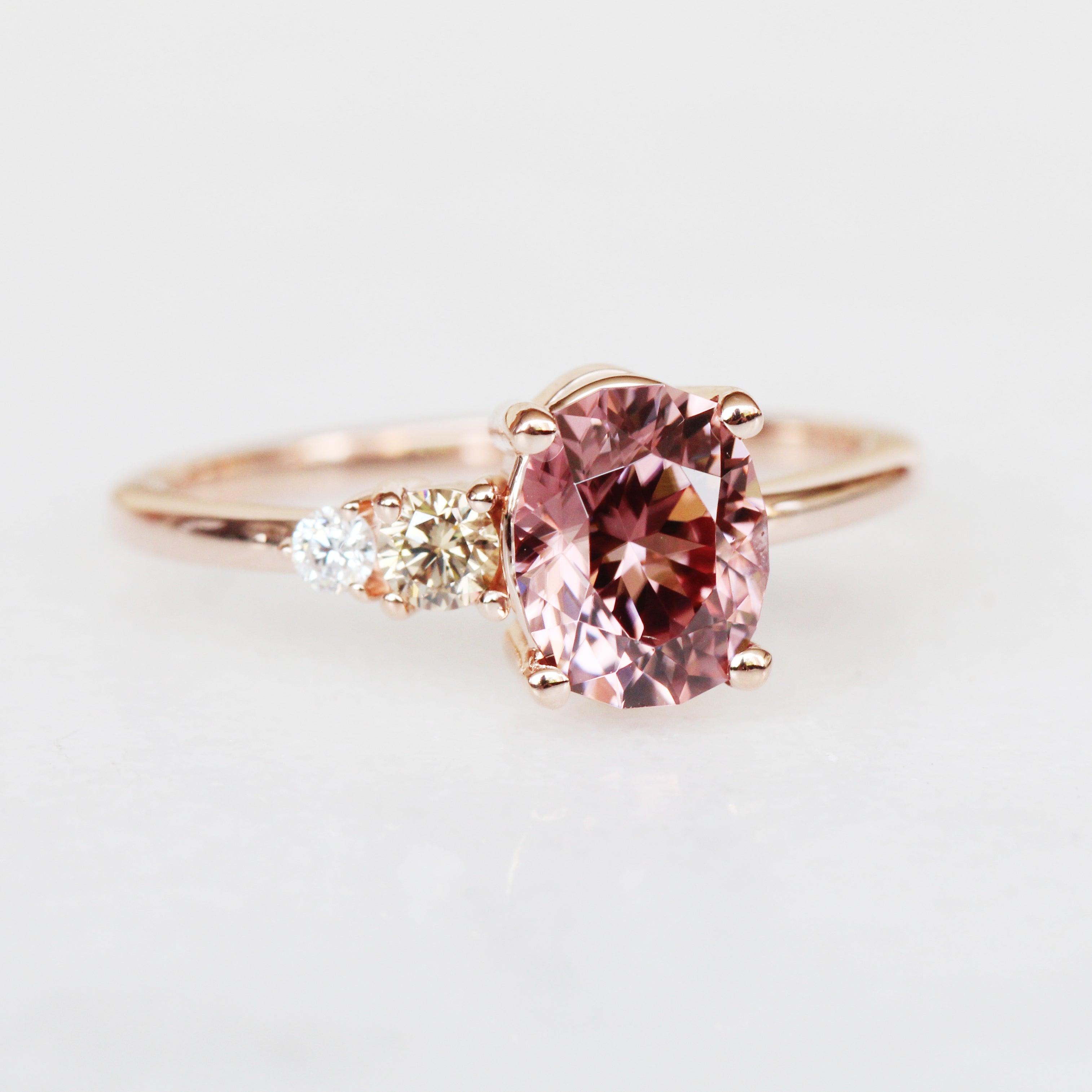 Jesse Ring with 2.04 ct Zircon and Diamonds in 10k rose gold - ready to size and ship - Salt & Pepper Celestial Diamond Engagement Rings and Wedding Bands  by Midwinter Co.