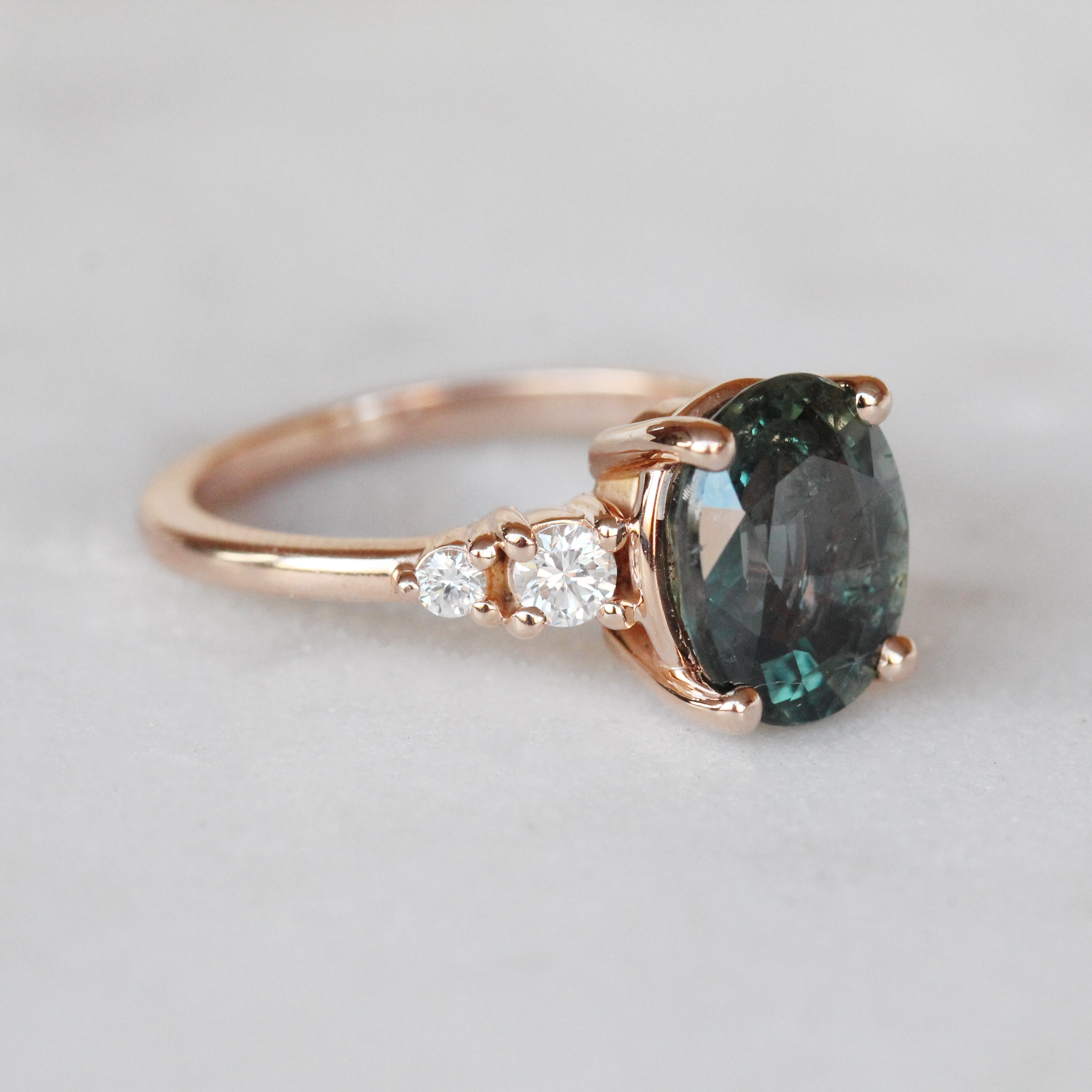 Jesse Ring with 3.3 ct Teal Sapphire and Diamonds in 10k Rose Gold - Ready to Size and Ship - Midwinter Co. Alternative Bridal Rings and Modern Fine Jewelry