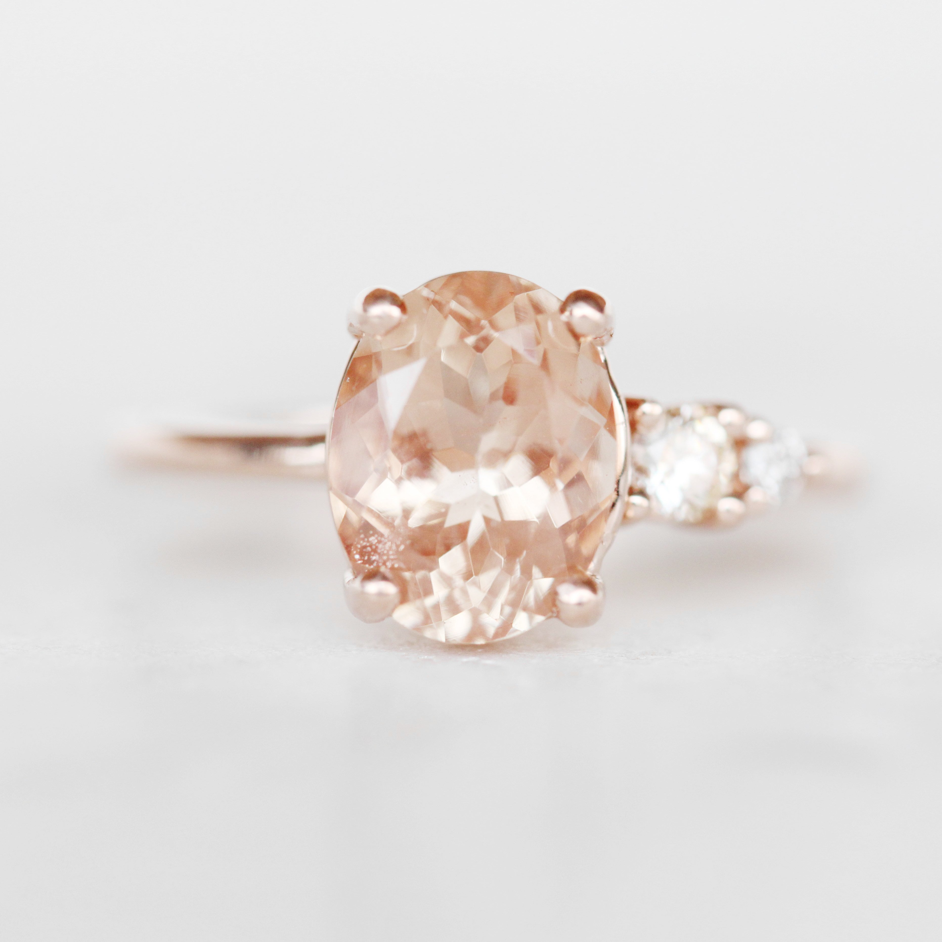 Jesse Ring with a 1.66 Carat Oval Sunstone and Two Graduated Clear Accents in 10k Rose Gold - Ready to Size and Ship - Salt & Pepper Celestial Diamond Engagement Rings and Wedding Bands  by Midwinter Co.