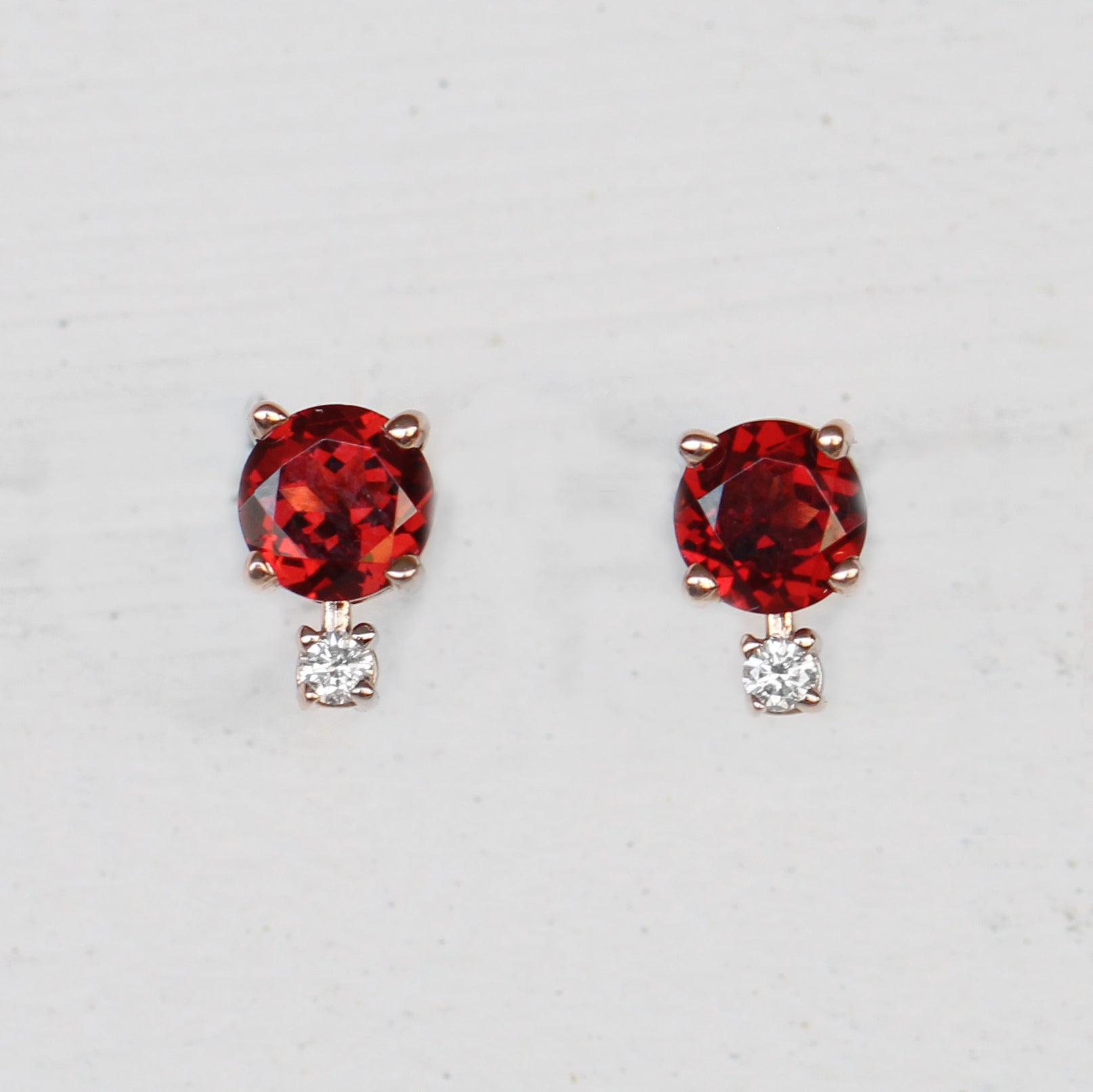 Joanna Earring with Garnet and Diamond Accent - 14k Rose Gold - Made to Order - Celestial Diamonds ® by Midwinter Co.