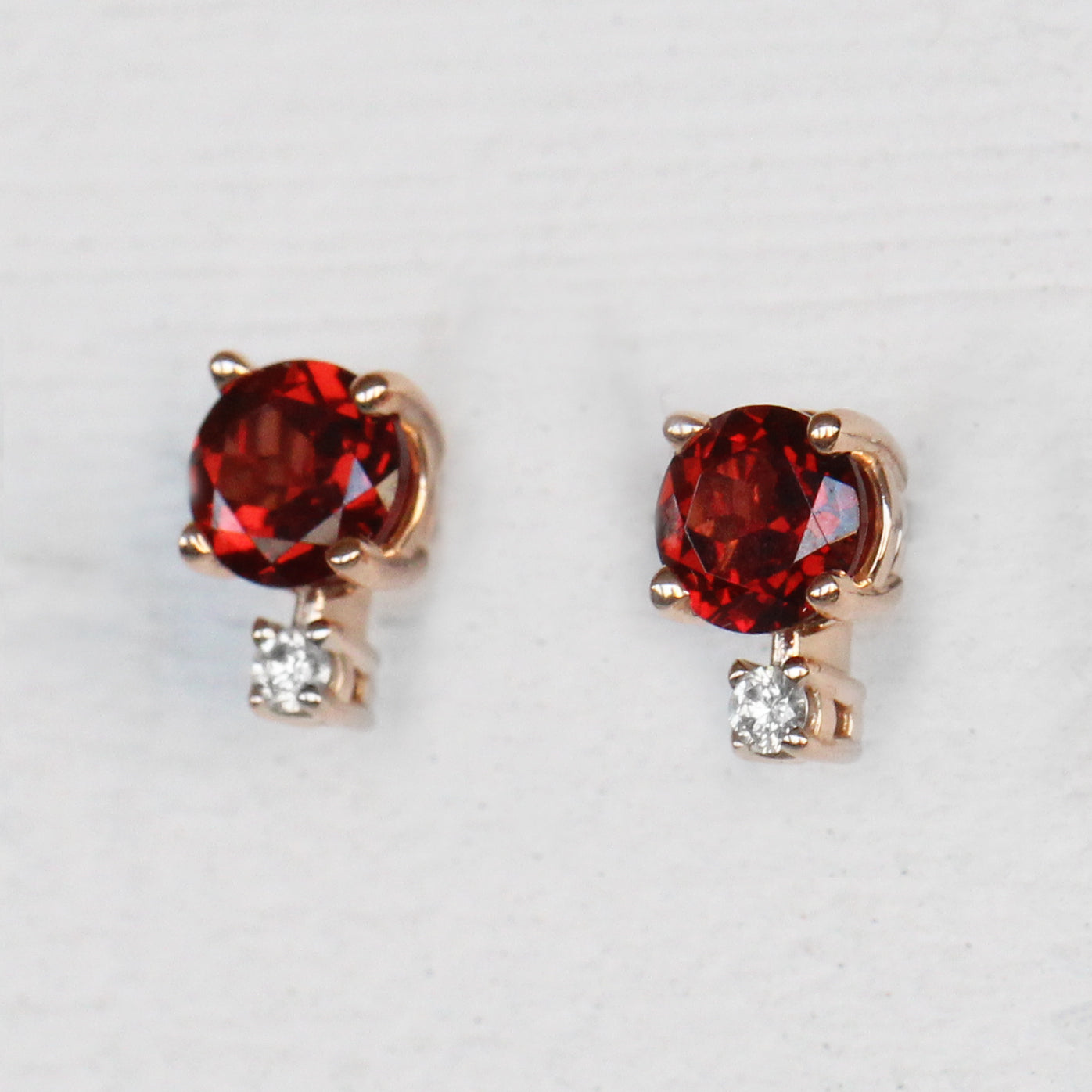 Joanna Earring with Garnet and Diamond Accent - 14k Gold of Your Choice - Made to Order - Salt & Pepper Celestial Diamond Engagement Rings and Wedding Bands  by Midwinter Co.