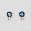 Joanna Earrings with London Blue Topaz and Diamond Accent - 14k Gold of Your Choice - Made to Order - Midwinter Co. Alternative Bridal Rings and Modern Fine Jewelry