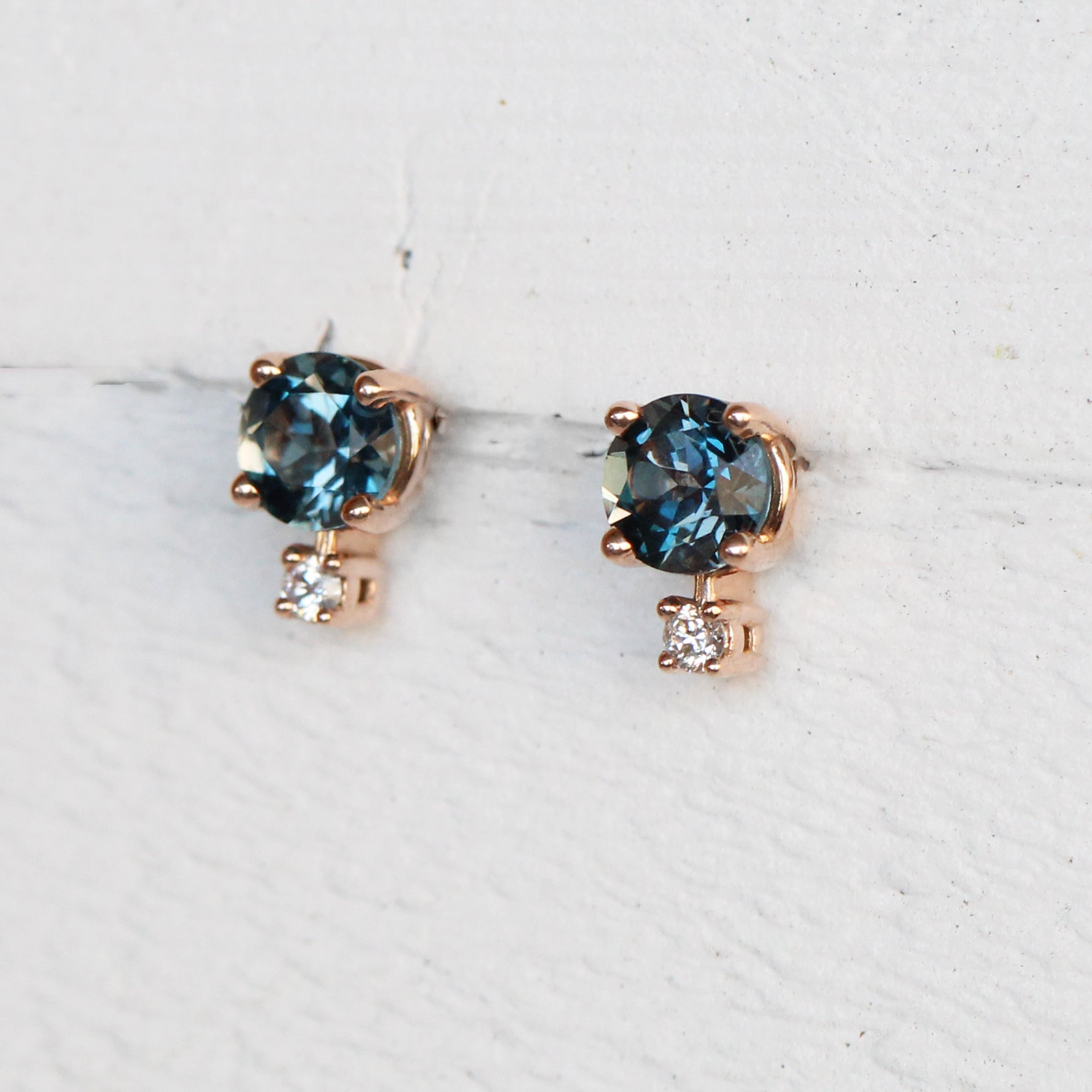 Joanna Earrings with London Blue Topaz and Diamond Accent - 14k Rose Gold - Made to Order - Celestial Diamonds ® by Midwinter Co.