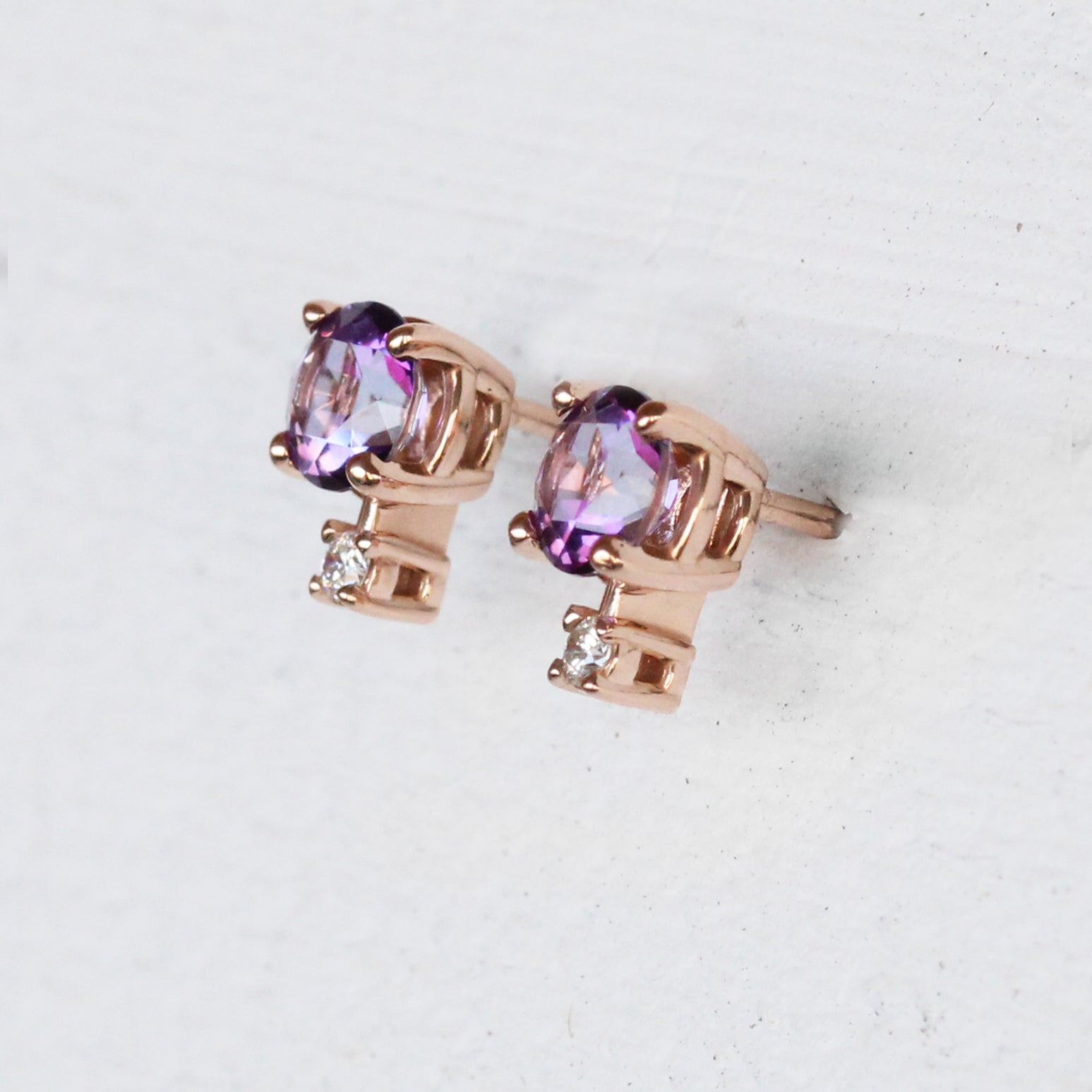 Joanna Earrings with Violet Topaz and Diamond Accents - 14k Gold of Your Choice - Made to Order - Salt & Pepper Celestial Diamond Engagement Rings and Wedding Bands  by Midwinter Co.
