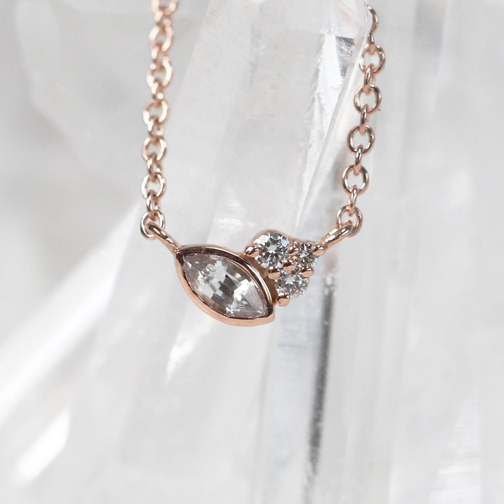 Jordan Necklace - Sapphire and Diamonds- 14k Rose Gold - Midwinter Co. Alternative Bridal Rings and Modern Fine Jewelry