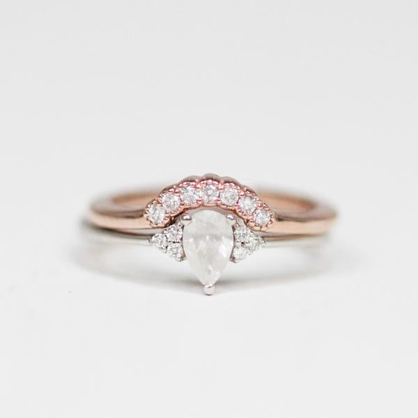 Joy - Contoured Diamond Wedding Stacking Band - made to order - Midwinter Co. Alternative Bridal Rings and Modern Fine Jewelry
