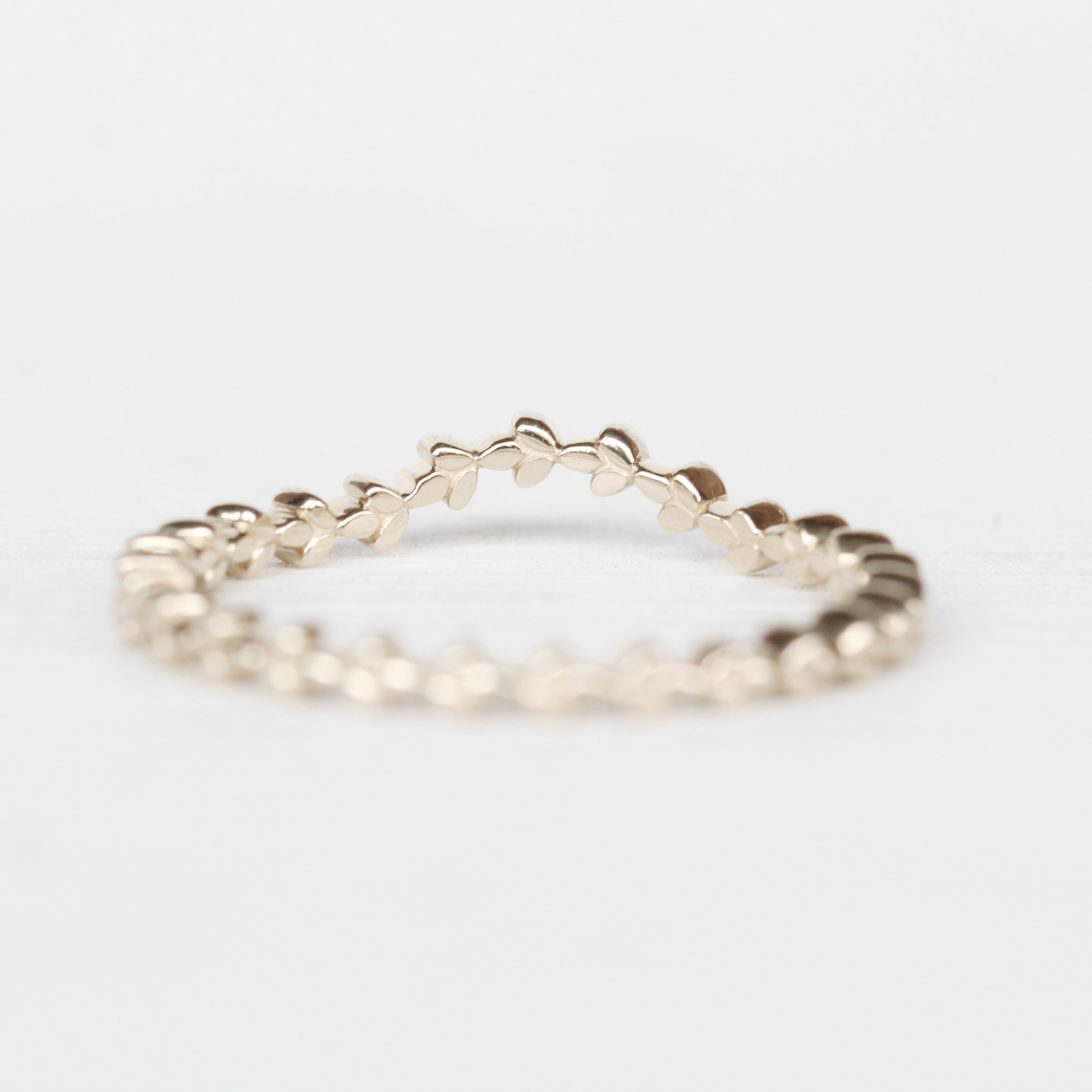 June - Floral leaf Contoured Wedding Stacking Band in Your Choice of 14K Gold