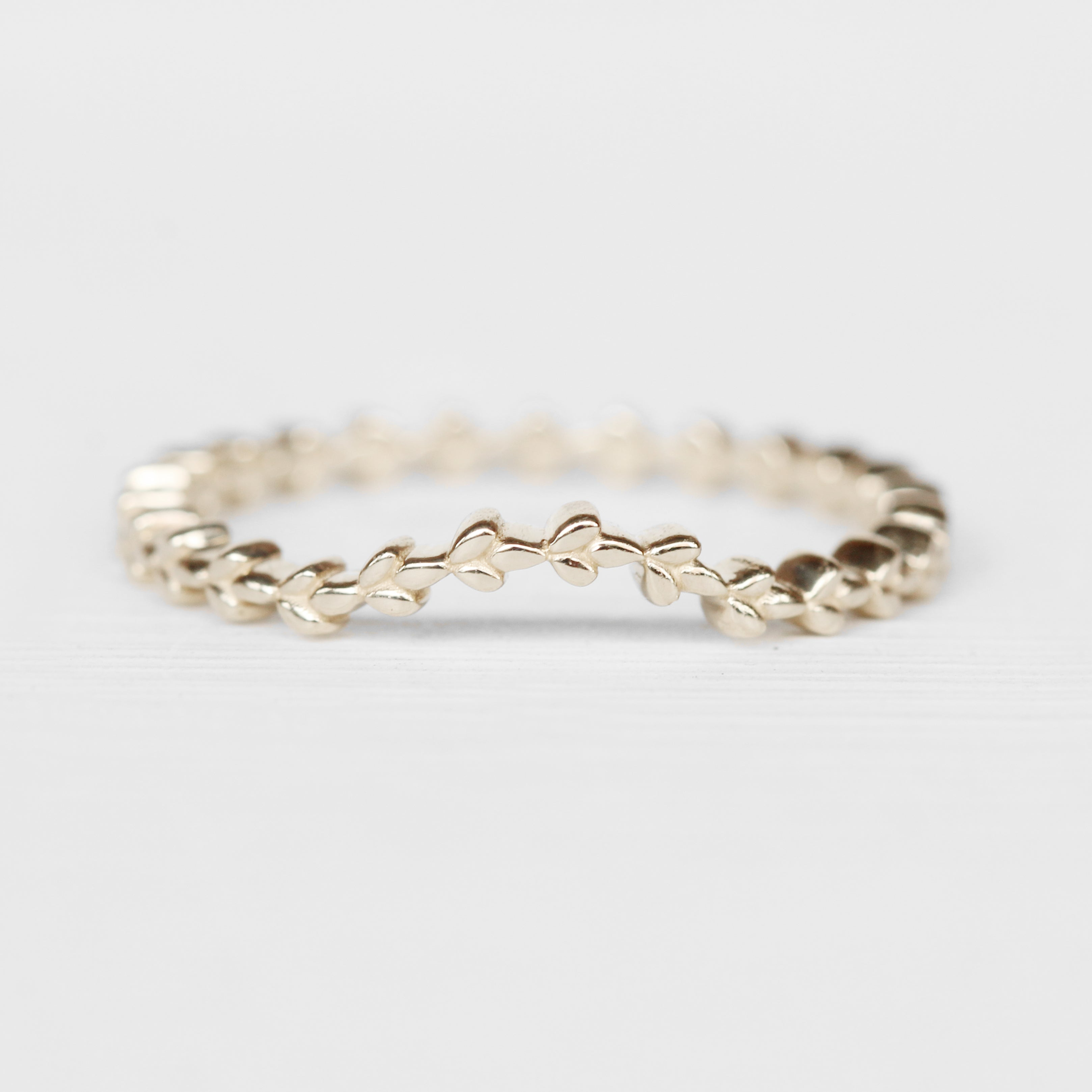 June - Floral leaf Contoured Wedding Stacking Band in Your Choice of 14K Gold - Midwinter Co. Alternative Bridal Rings and Modern Fine Jewelry
