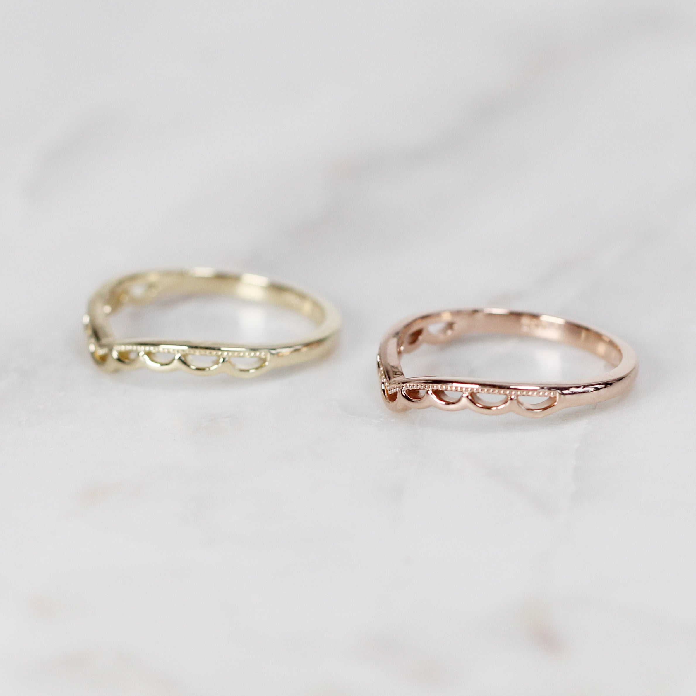Juniper Lace Contour V Ring - Your Choice of 14k Gold - Salt & Pepper Celestial Diamond Engagement Rings and Wedding Bands  by Midwinter Co.