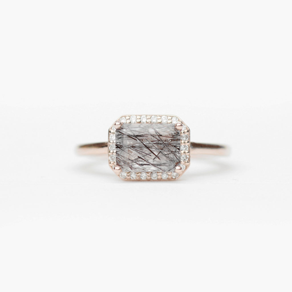 Kait - Emerald Cut Tourmalated Quartz in a Diamond Halo - Pick your diamonds and metal