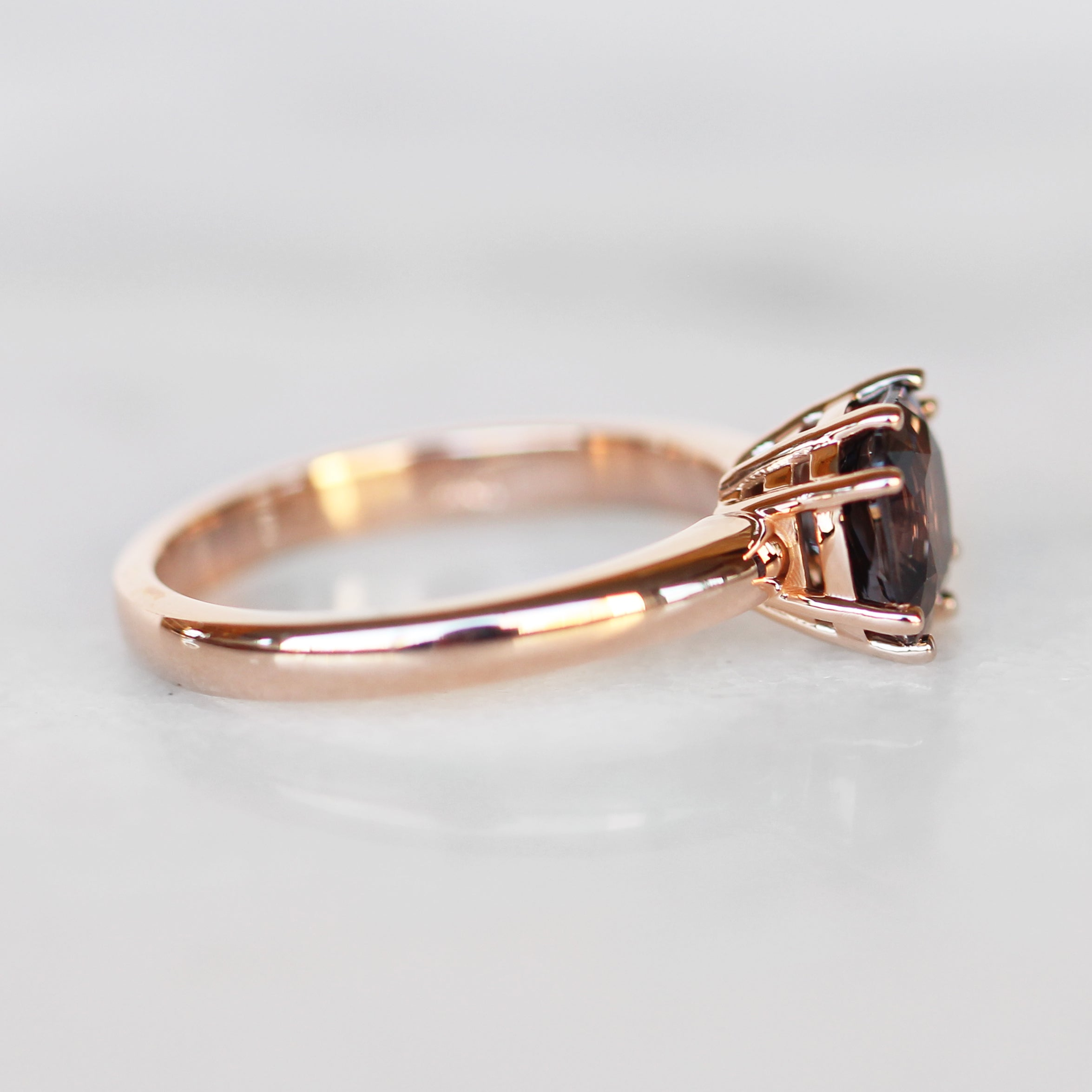 Katrina Ring with 1.93 Carat Cushion Spinel in 10k Rose Gold- Ready to Size and Ship - Celestial Diamonds ® by Midwinter Co.