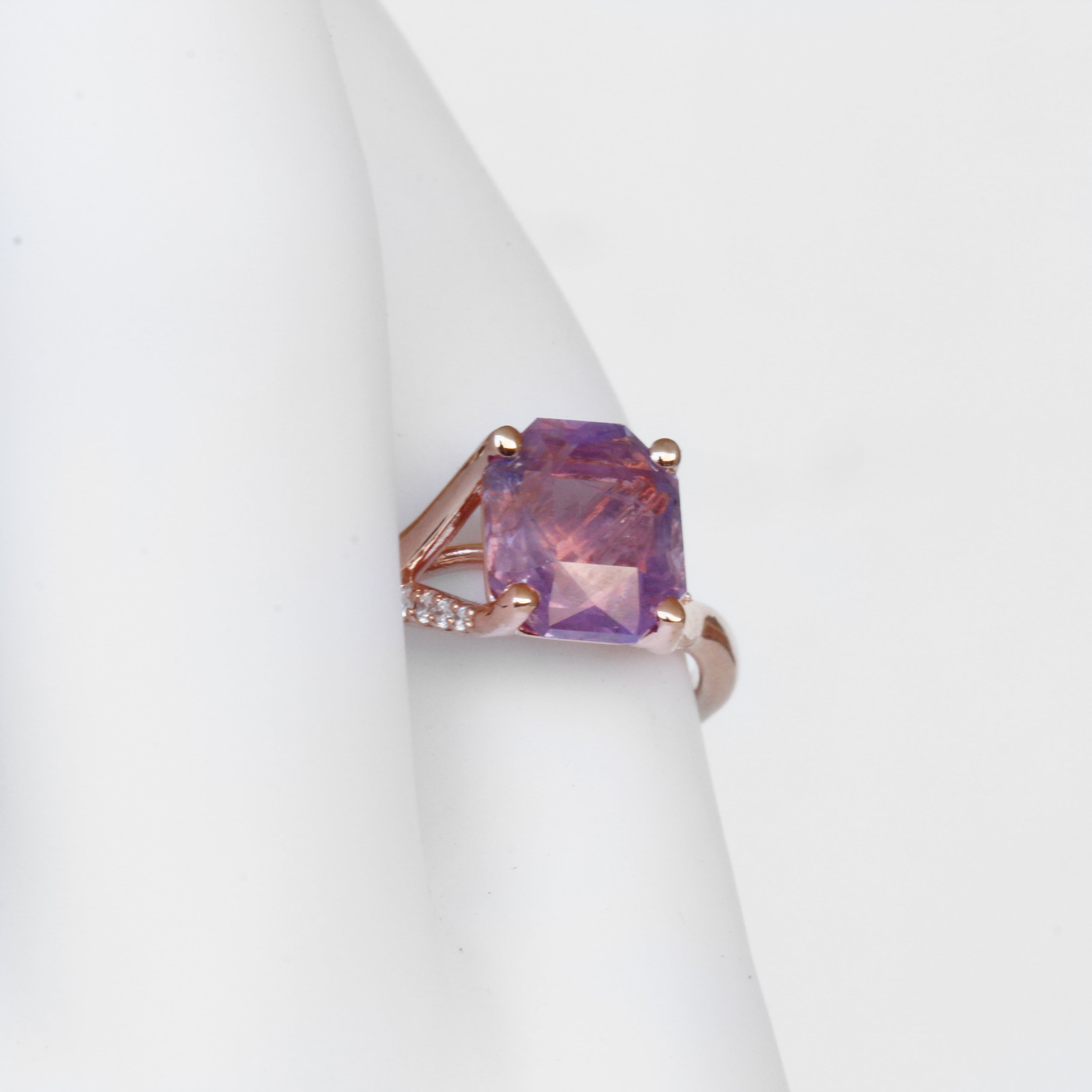 Kennedy ring with 2.7 carat Asscher Sapphire in 10k Rose Gold - Ready to Size and Ship - Midwinter Co. Alternative Bridal Rings and Modern Fine Jewelry