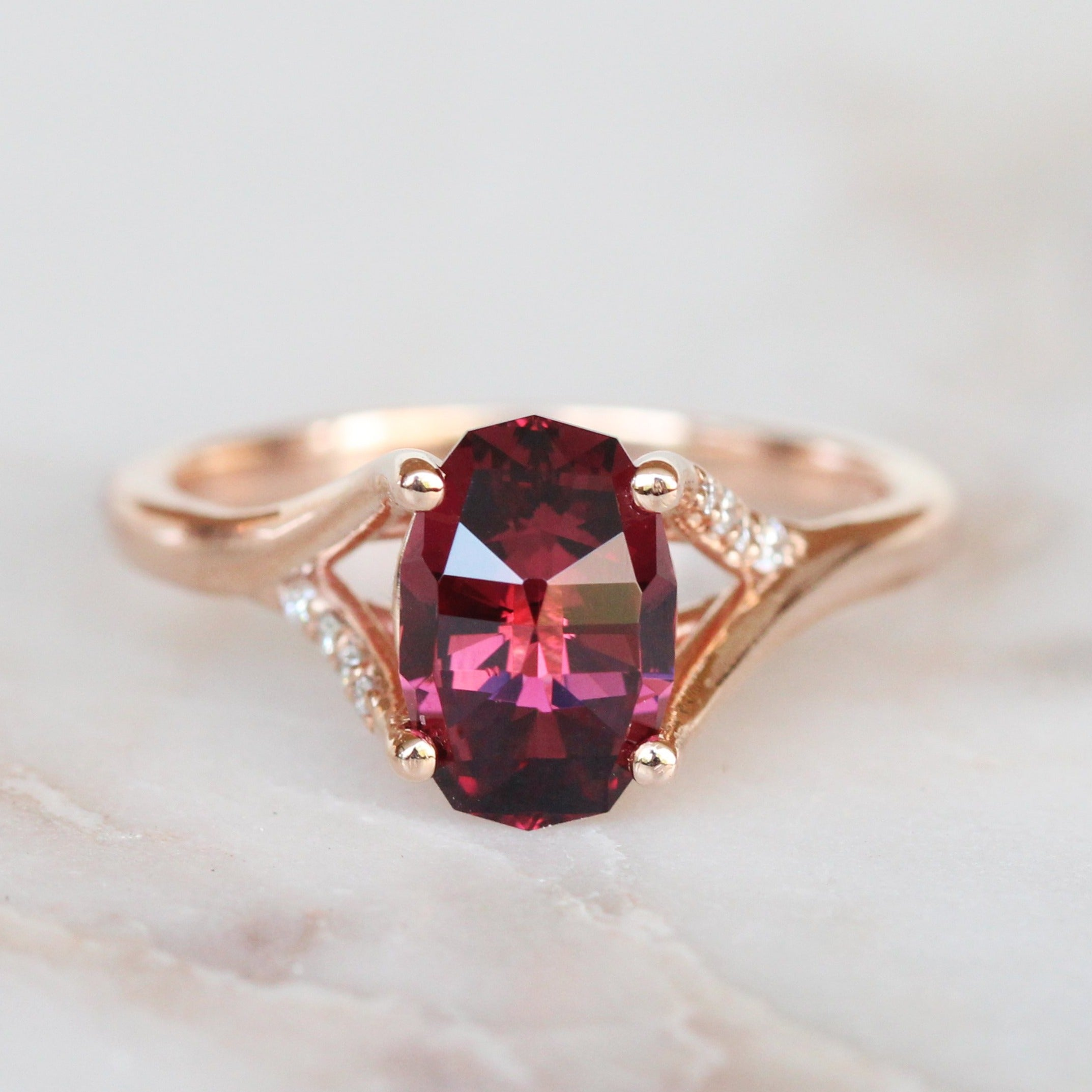 Kennedy Ring with Geometric Oval Garnet + Diamonds - Ready to Size and Ship - Salt & Pepper Celestial Diamond Engagement Rings and Wedding Bands  by Midwinter Co.