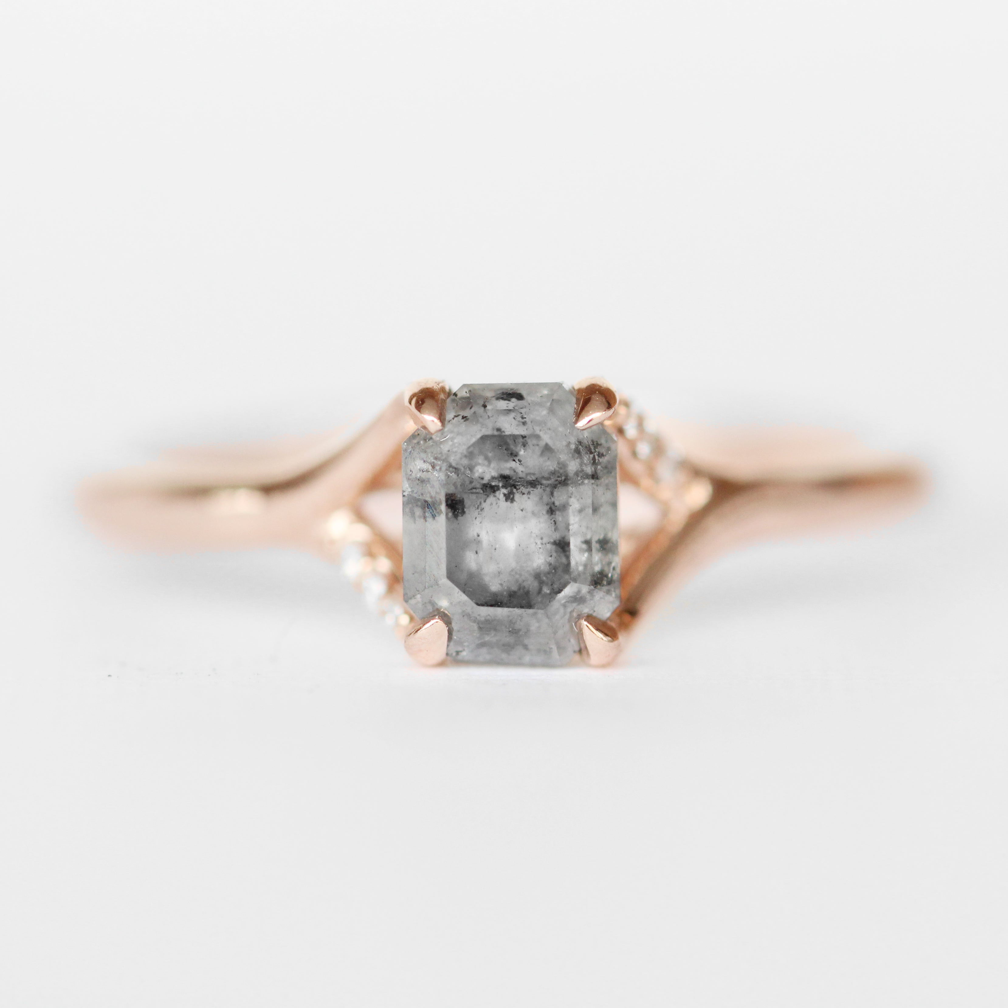 Kennedy Ring with an Emerald Cut Celestial Diamond + Diamond Accents in 10k Rose Gold - Ready to Size and Ship - Celestial Diamonds ® by Midwinter Co.