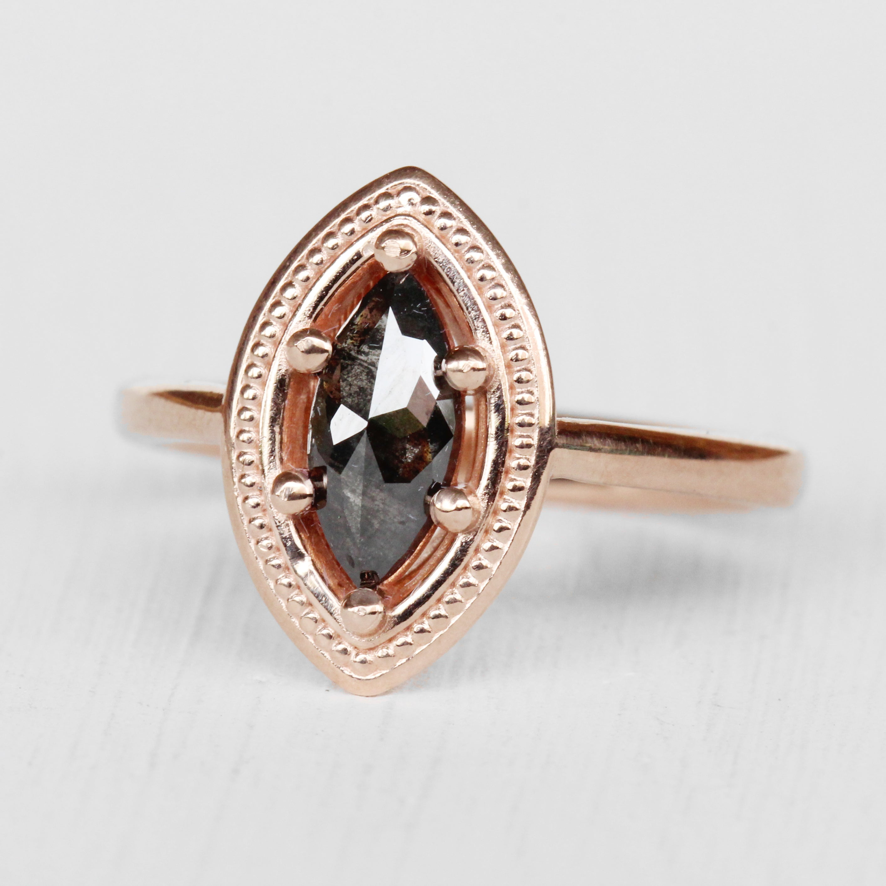 Kitt Ring with a Celestial Marquise Diamond in 10k Rose Gold - Ready to Size and Ship