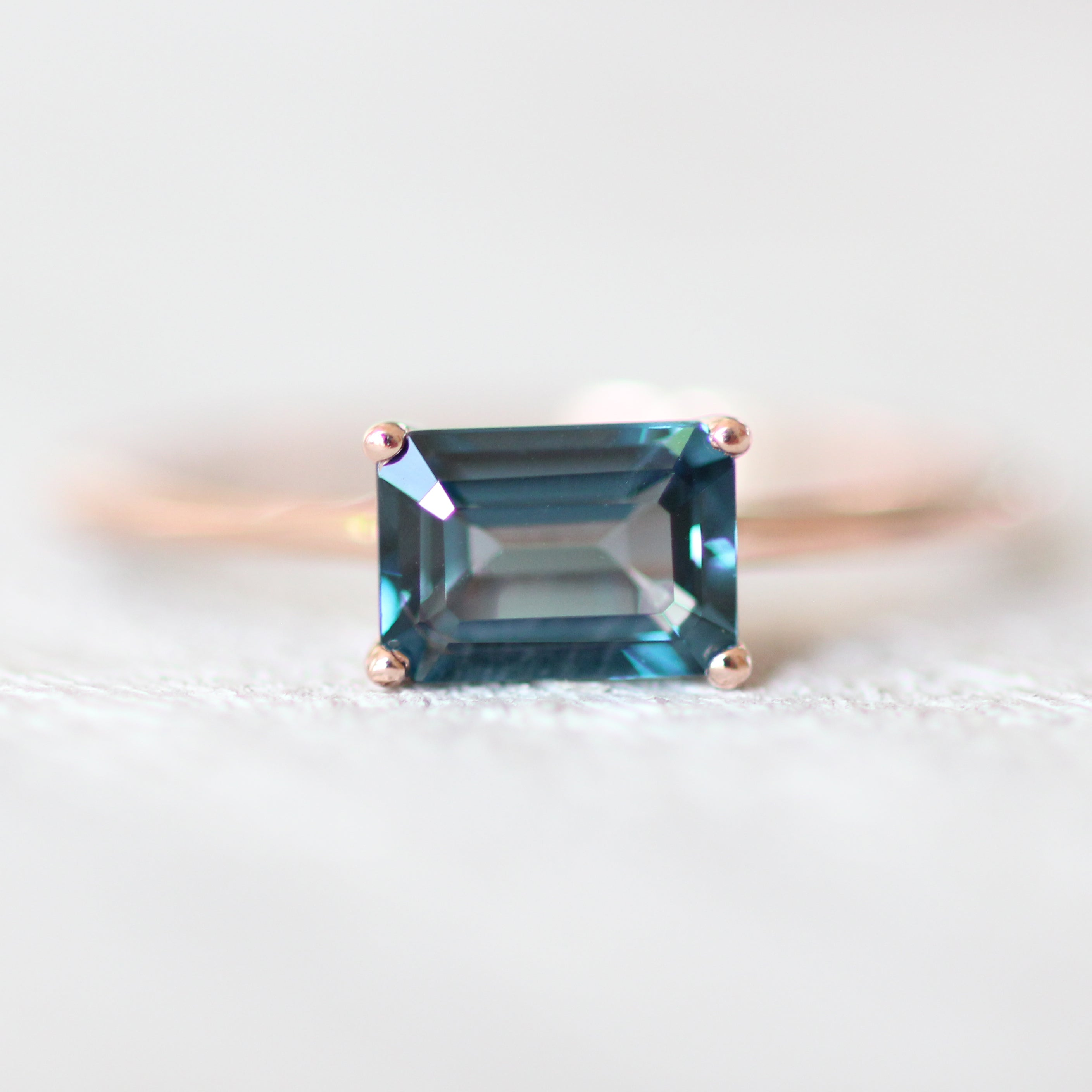 London Blue Topaz 1.3 carat Emerald Cut - Your choice of metal - Custom - Midwinter Co. Alternative Bridal Rings and Modern Fine Jewelry
