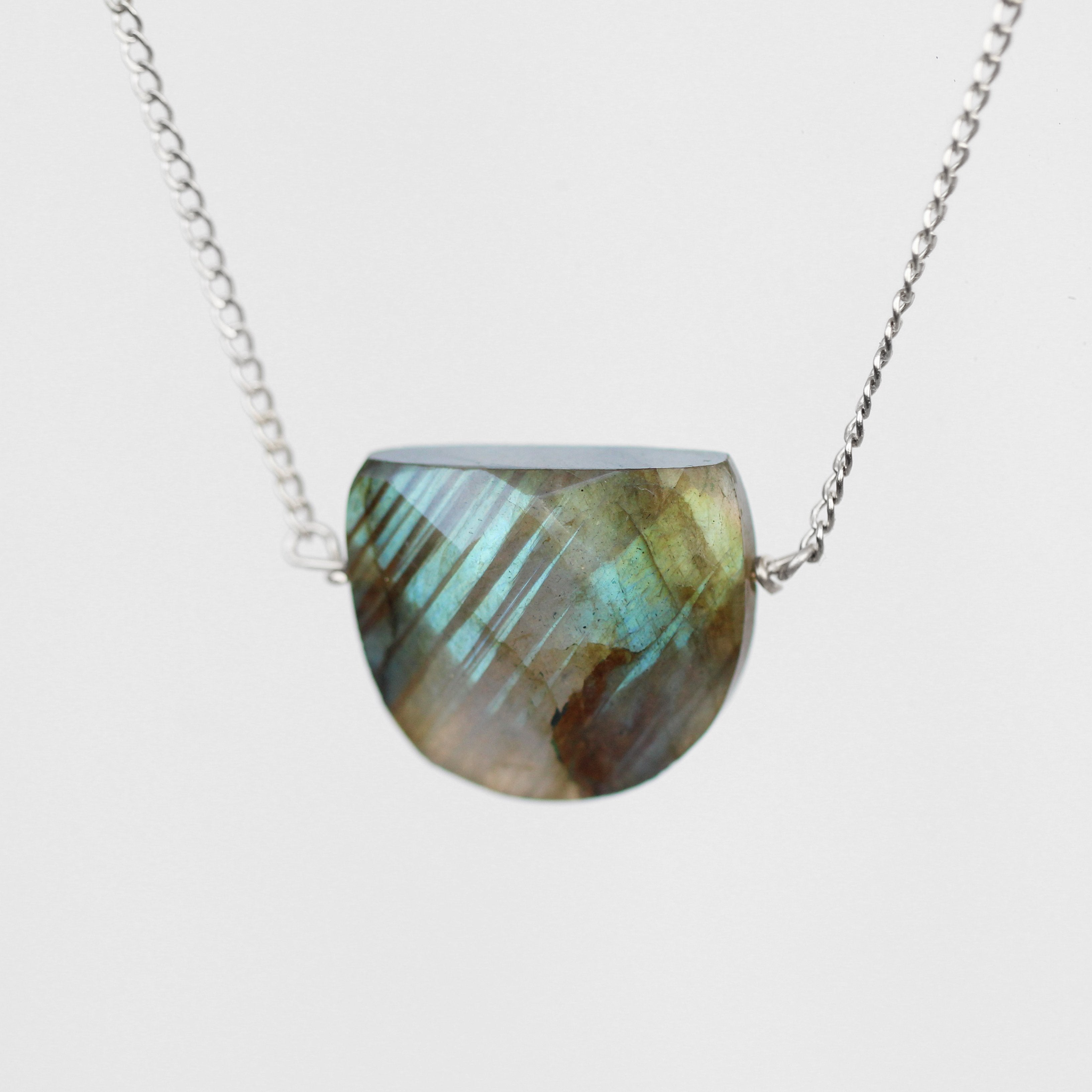 Labradorite Half Moon Pendant Necklace with 14k Yellow Gold Fill or Sterling Chain - Celestial Diamonds ® by Midwinter Co.
