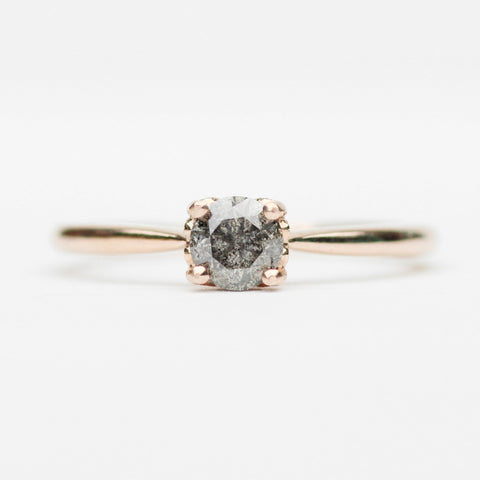 Lark with Celestial Gray Round Diamond in 10k Rose Gold - Ready to size and ship