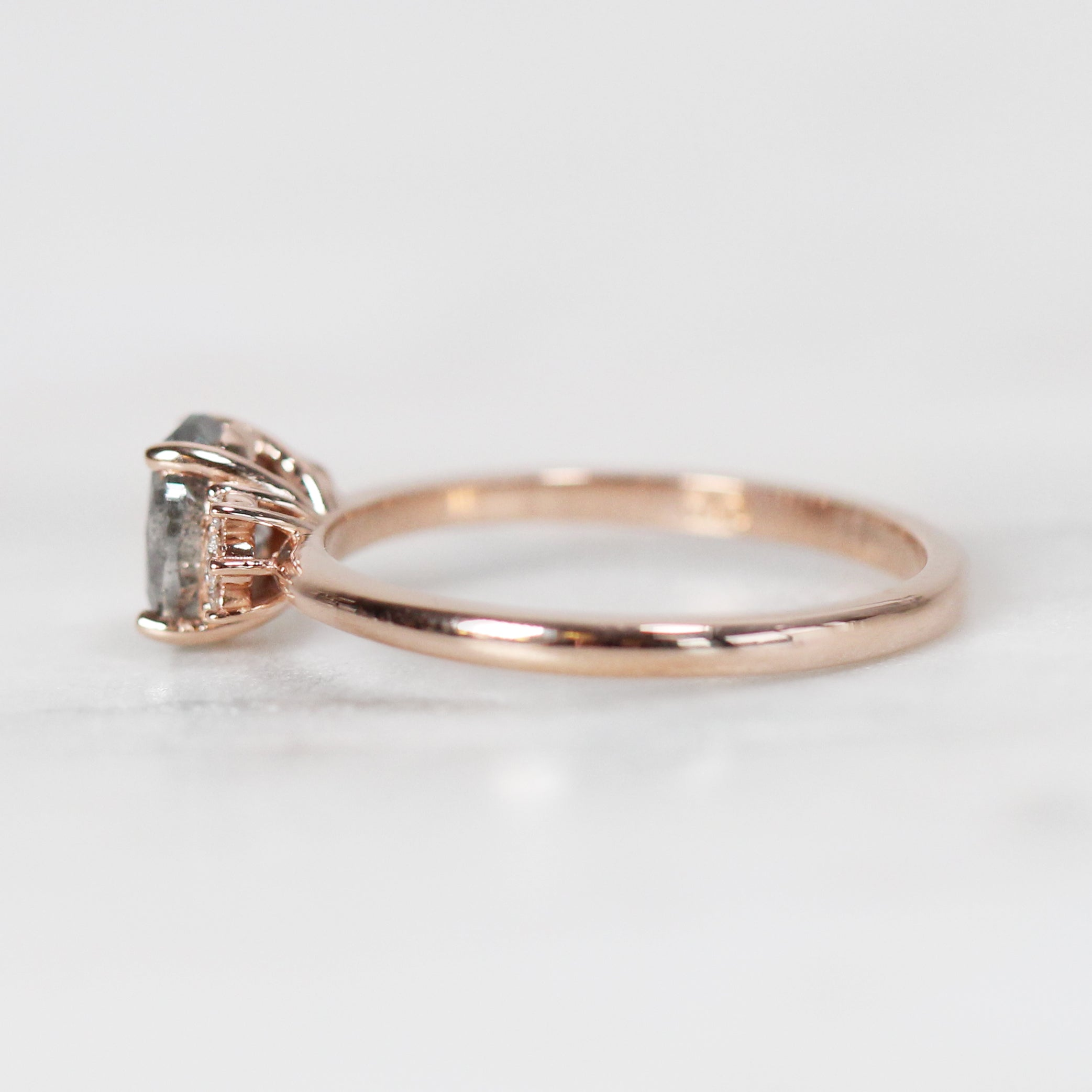 Laura Ring with 1.02 ct Brilliant Oval Celestial Diamond® in 10k Rose Gold-Ready to Size and Ship - Celestial Diamonds ® by Midwinter Co.