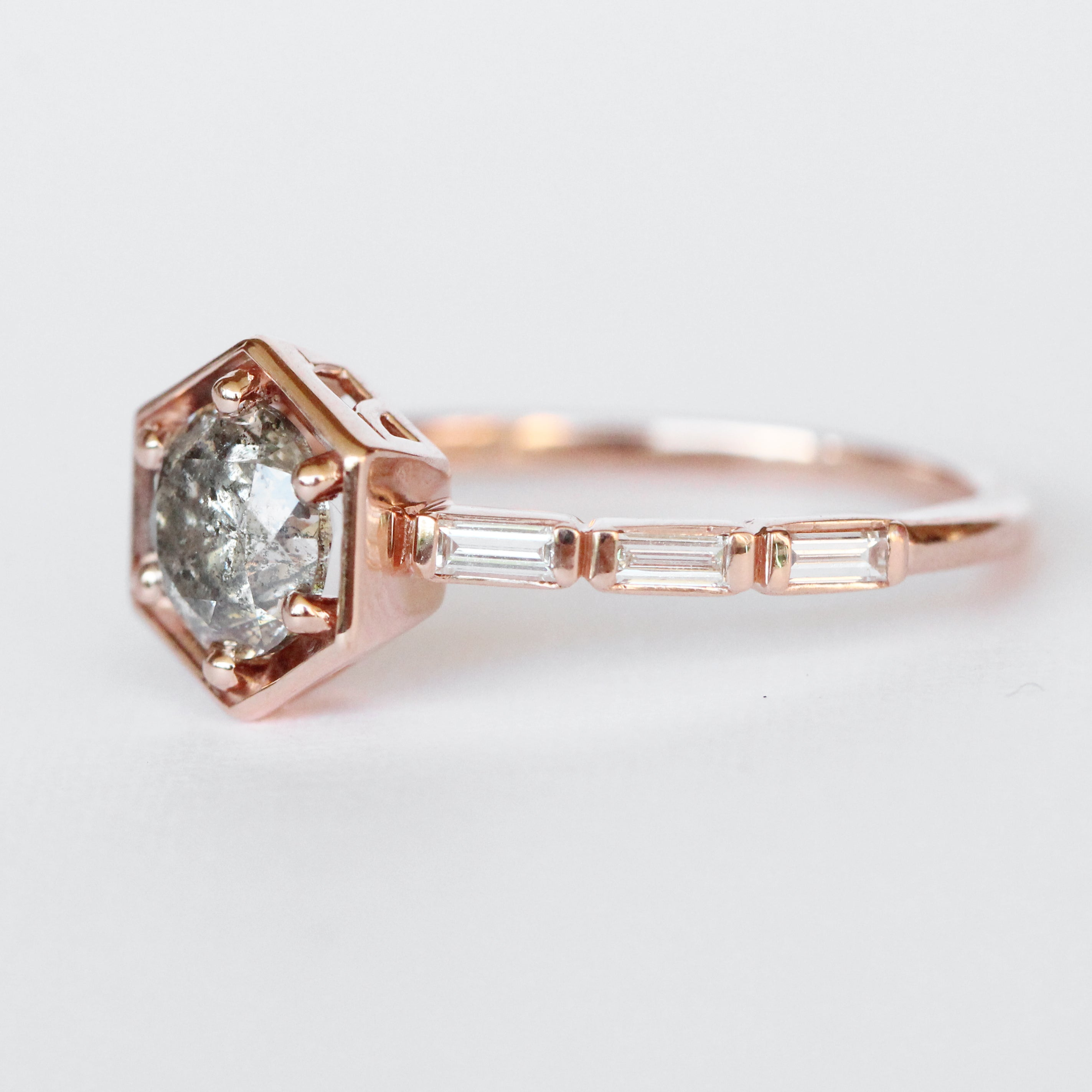 Lennen Ring with a .90 ct Celestial and Diamond Accents in 10k Rose Gold - Ready to Size and Ship - Celestial Diamonds ® by Midwinter Co.