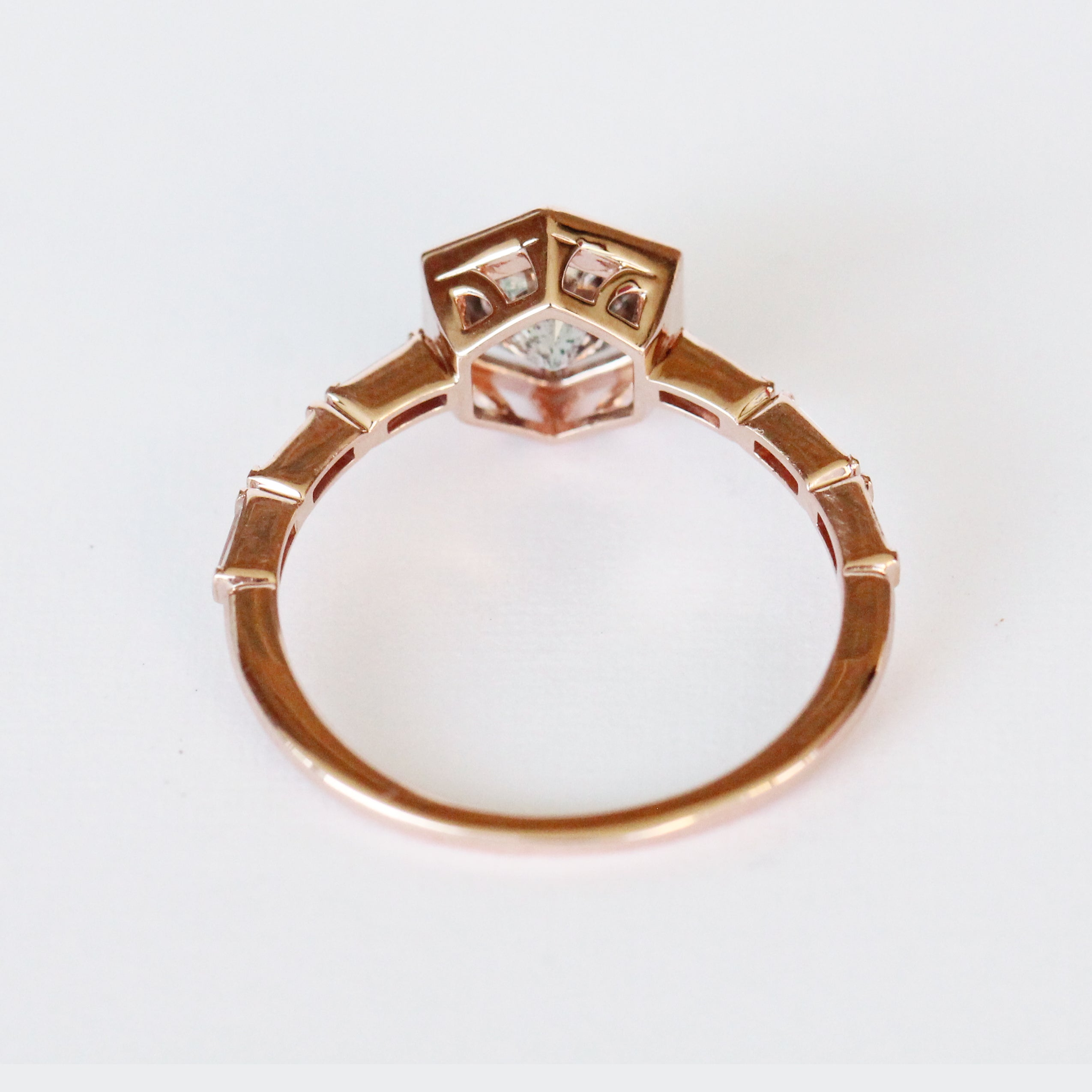 Lennen Ring with a .90 ct Celestial and Diamond Accents in 10k Rose Gold - Ready to Size and Ship