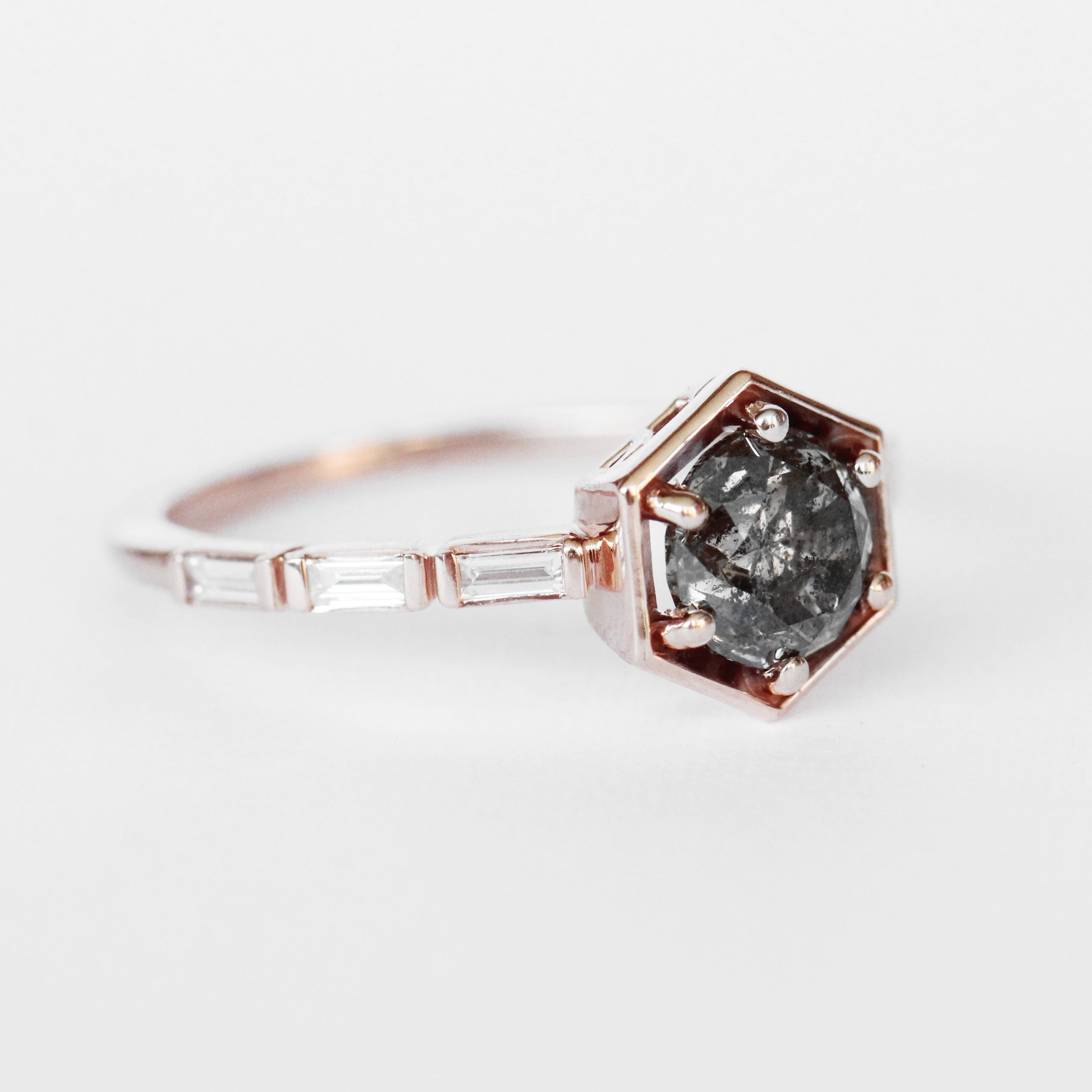 Lennen Ring with a Champagne Celestial and Diamond Accents in 10k Rose Gold - Ready to Size and Ship - Salt & Pepper Celestial Diamond Engagement Rings and Wedding Bands  by Midwinter Co.