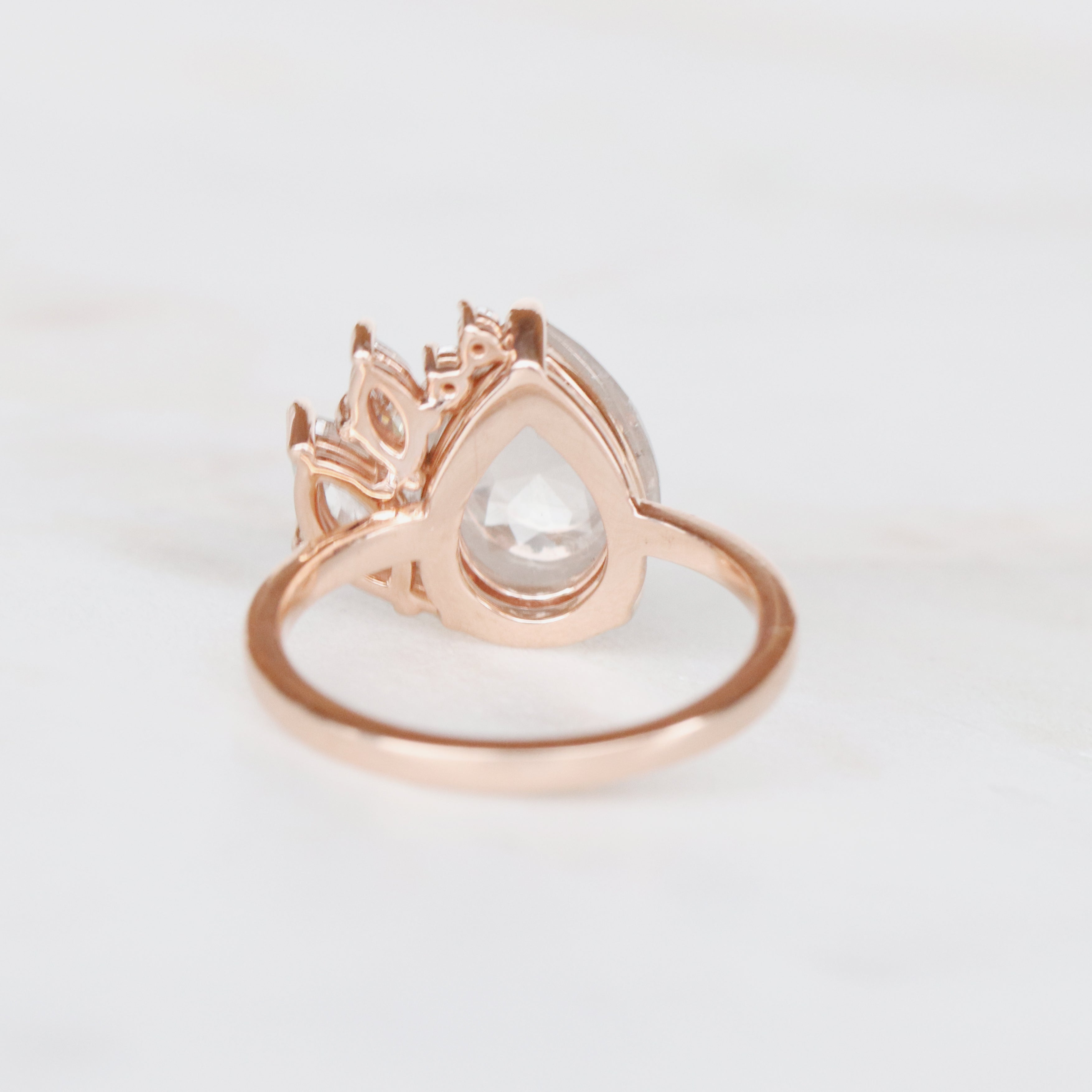 Lilith Pear Cluster Ring with Misty White Diamonds in 14k Rose Gold - Ready to Size and Ship - Salt & Pepper Celestial Diamond Engagement Rings and Wedding Bands  by Midwinter Co.