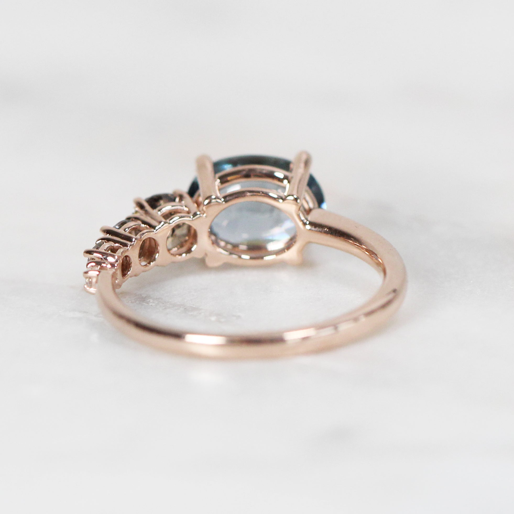Lola ring with 2.12 Sapphire and gray white diamonds 10k Rose Gold- Ready to Size and Ship - Celestial Diamonds ® by Midwinter Co.