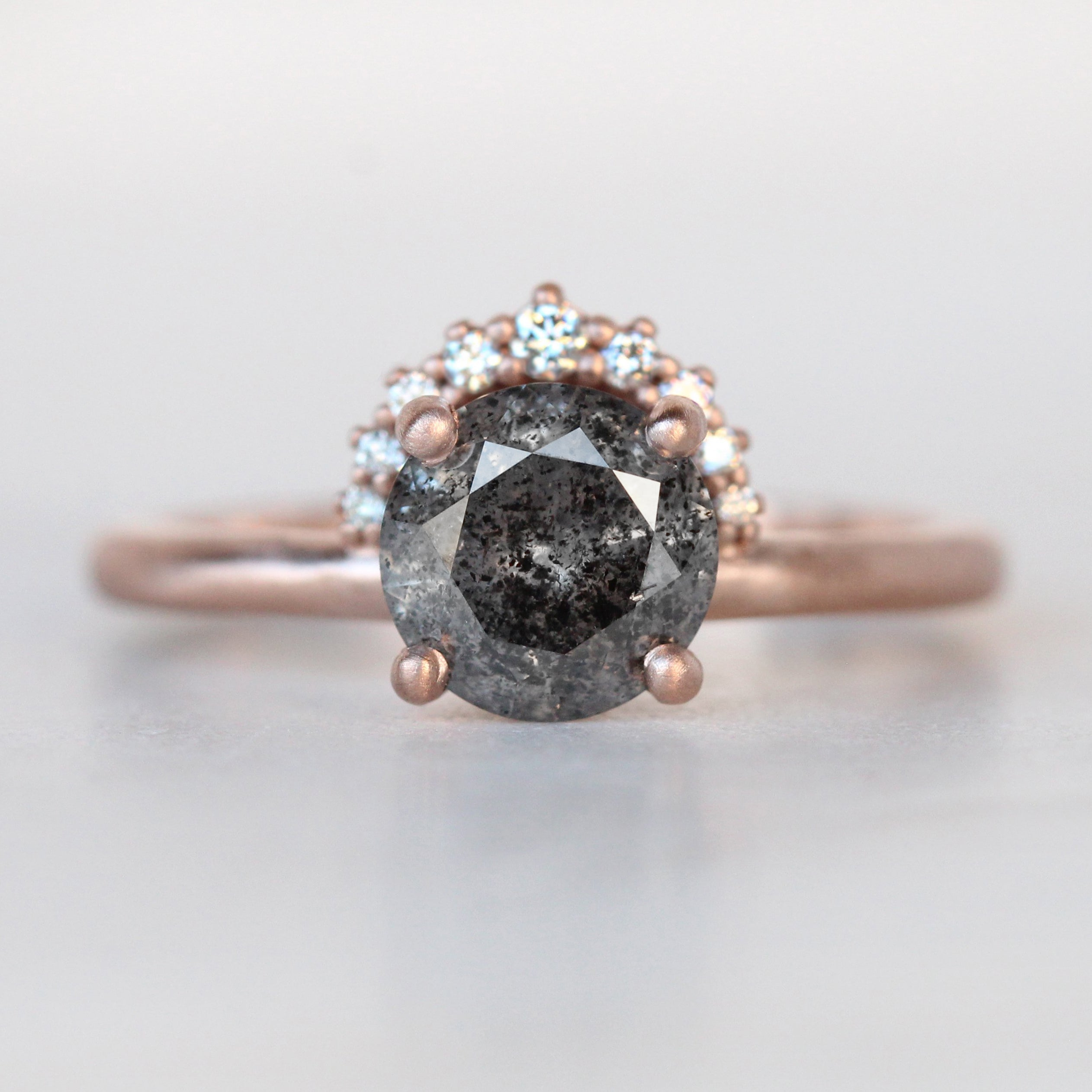 Lonnie Ring with a 1.52 Carat Celestial Diamond and a Half Halo Accent in 10k Brushed Rose Gold - Ready to Size and Ship - Midwinter Co. Alternative Bridal Rings and Modern Fine Jewelry