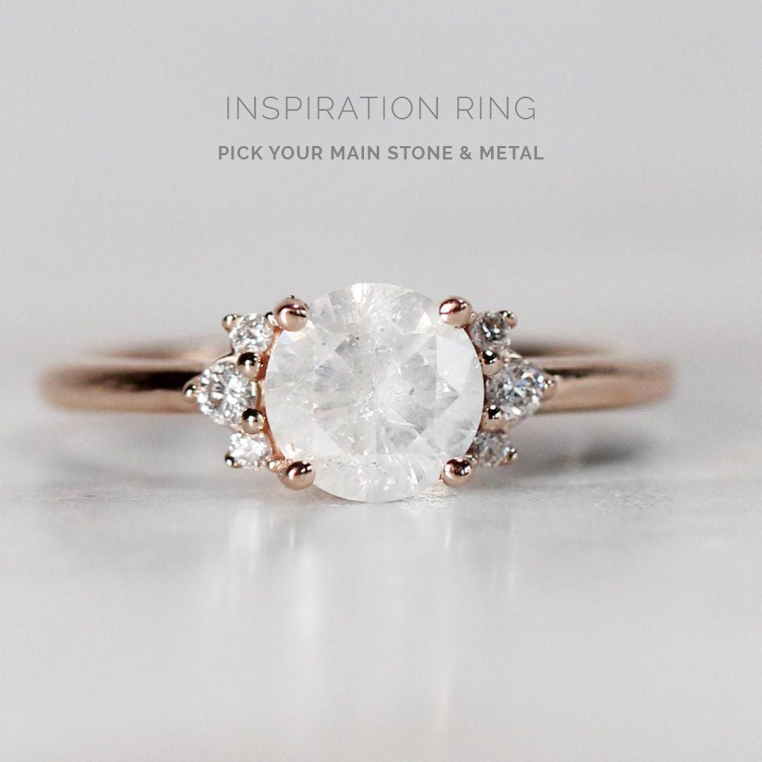 Inspiration Ring - Loren Setting - Choose your stone + metal - Salt & Pepper Celestial Diamond Engagement Rings and Wedding Bands  by Midwinter Co.