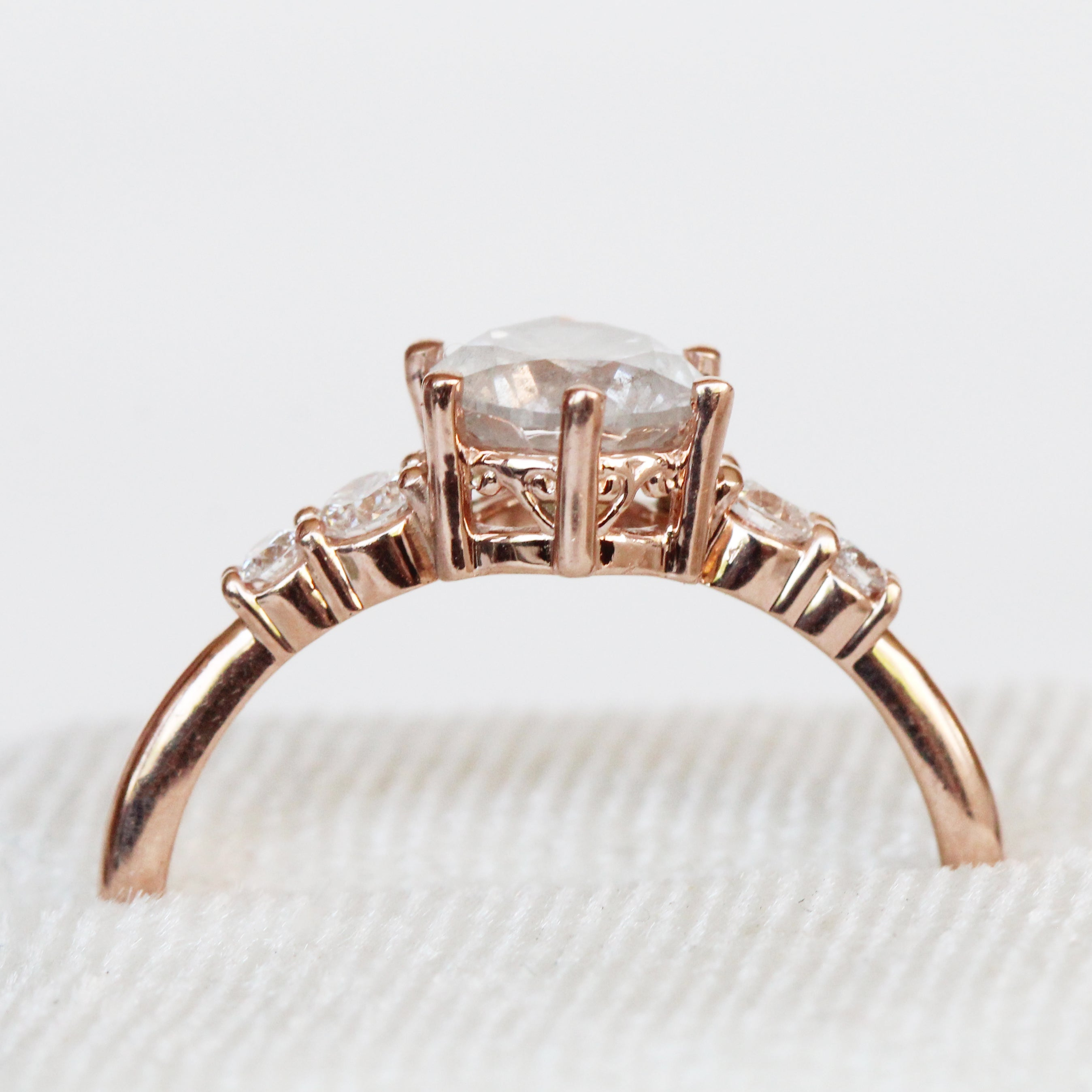 Samantha Louisa ring with 1.05 carat natural brilliant round celestial diamond in 14k rose gold - ready to size and ship - Celestial Diamonds ® by Midwinter Co.