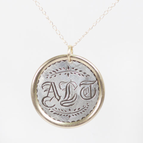 Antique Love Token Necklace with 14k Yellow Gold Chain - Engraved with  A  L or F T