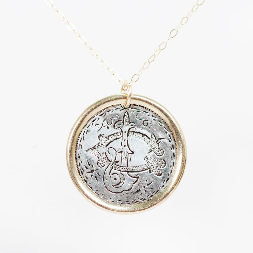 Antique Love Token Necklace with 14k Yellow Gold Chain - Engraved with  C  J
