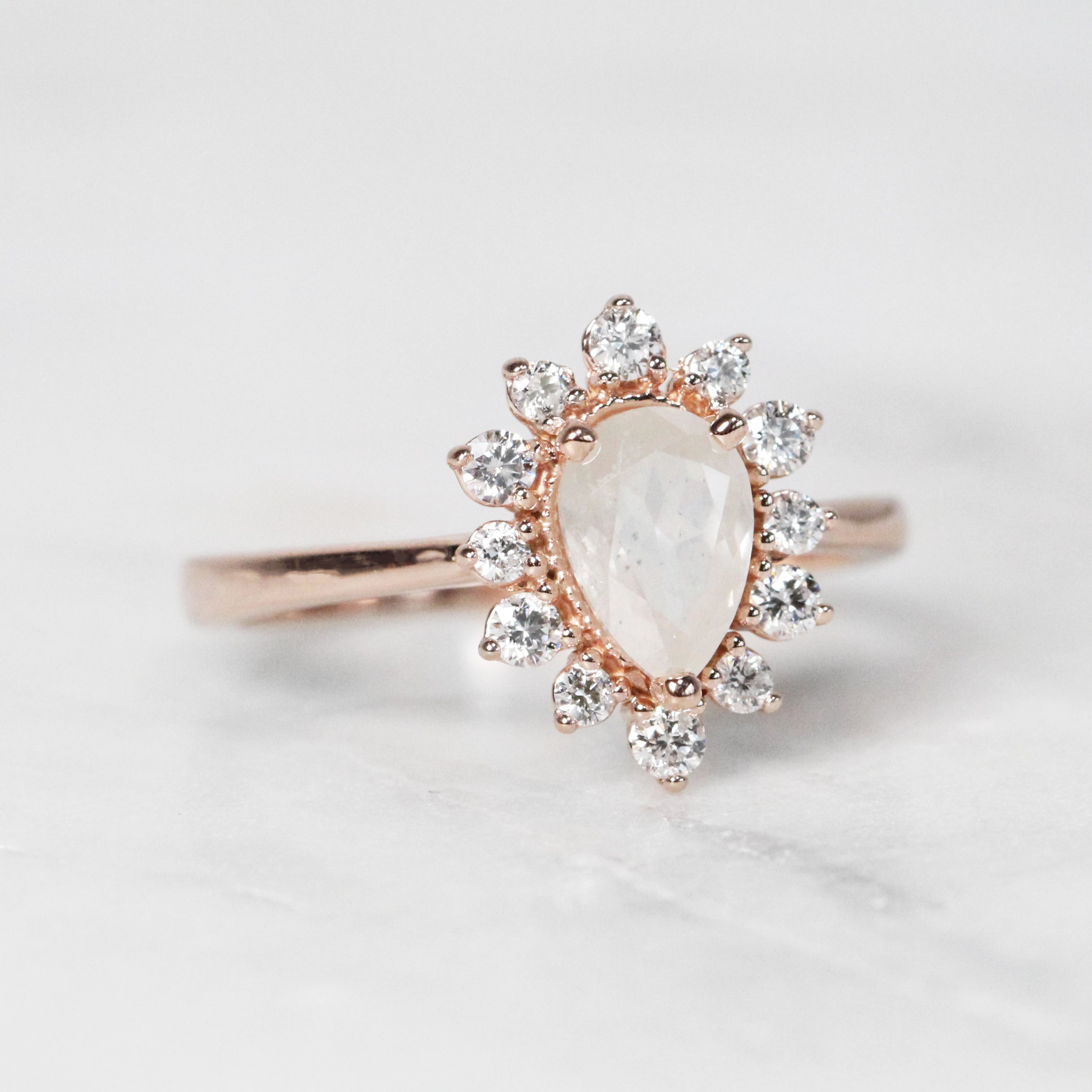 Lucy Ring with 1.01 carat Misty White Pear Diamond in 10k Rose Gold - Ready to Size and Ship - Celestial Diamonds ® by Midwinter Co.