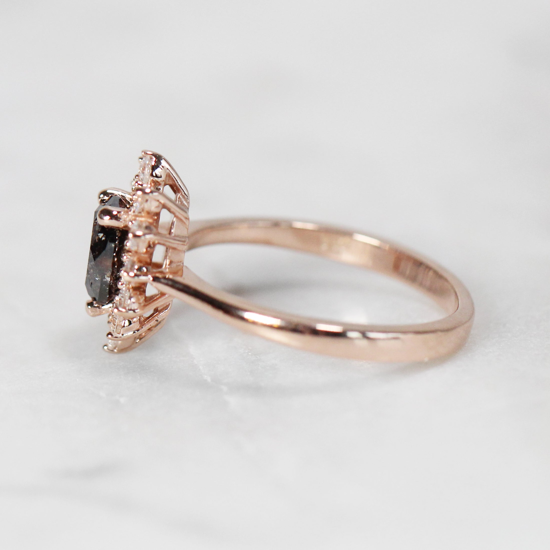 Lucy Ring with .93 Carat Pear Celestial Diamond in 10k Rose Gold - Ready to Size and Ship - Celestial Diamonds ® by Midwinter Co.