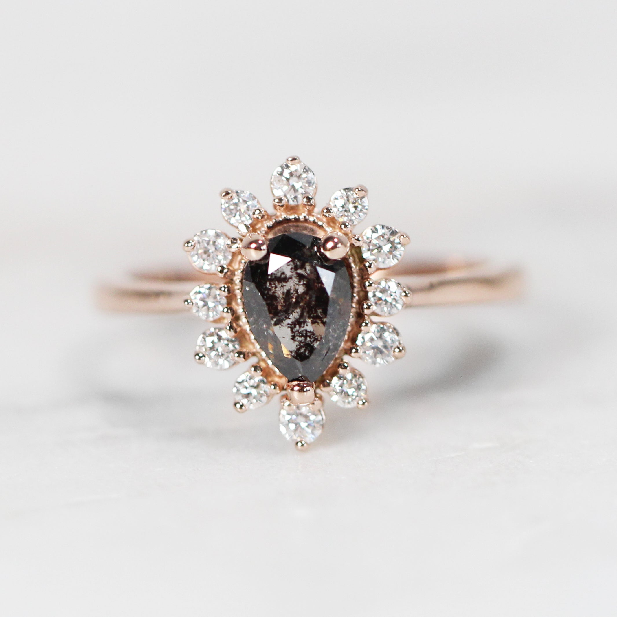 Lucy Ring with .93 Carat Pear Celestial Diamond in 10k Rose Gold - Ready to Size and Ship - Salt & Pepper Celestial Diamond Engagement Rings and Wedding Bands  by Midwinter Co.