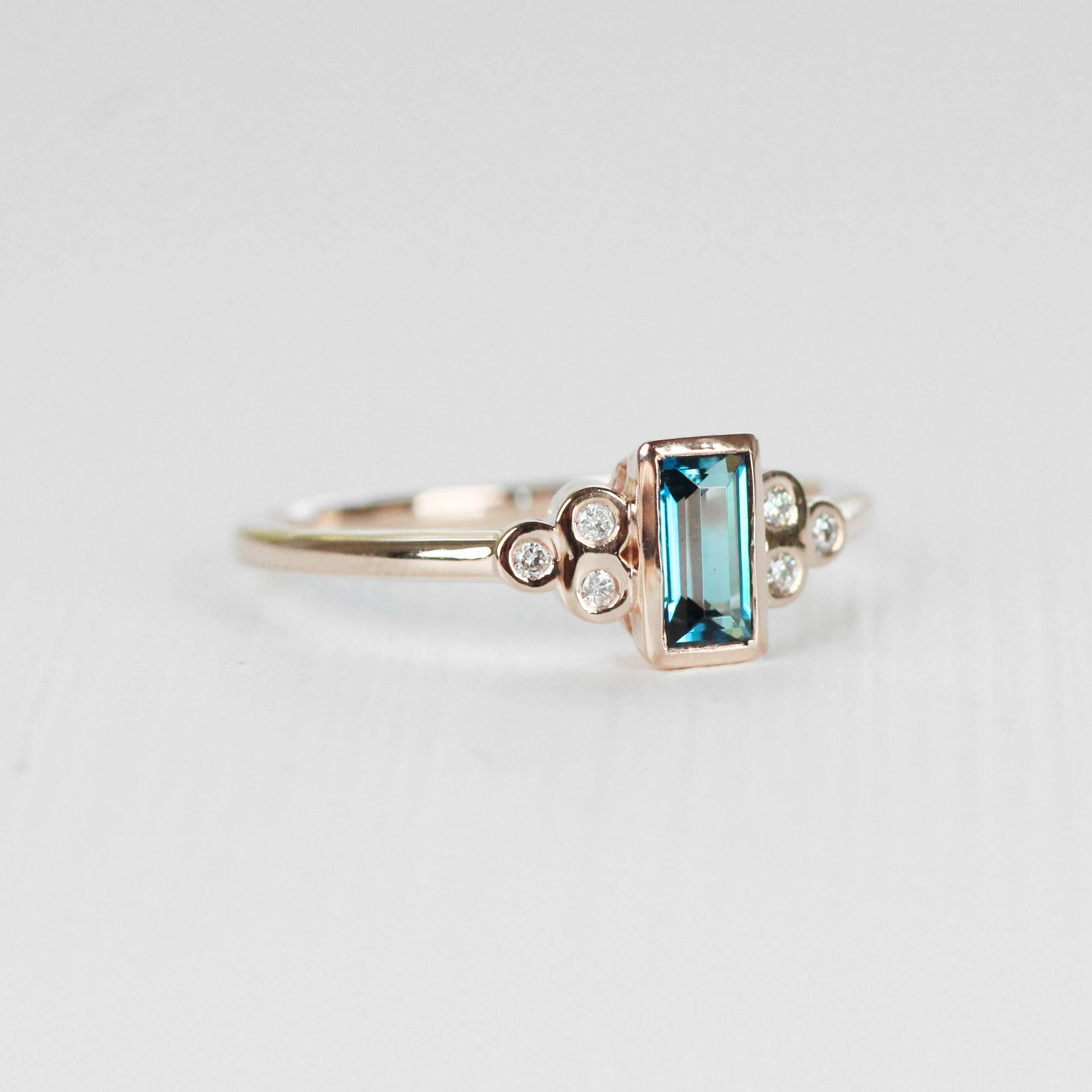 Sophia - London Blue Topaz in Rose Gold Ring - Made to order - Celestial Diamonds ® by Midwinter Co.