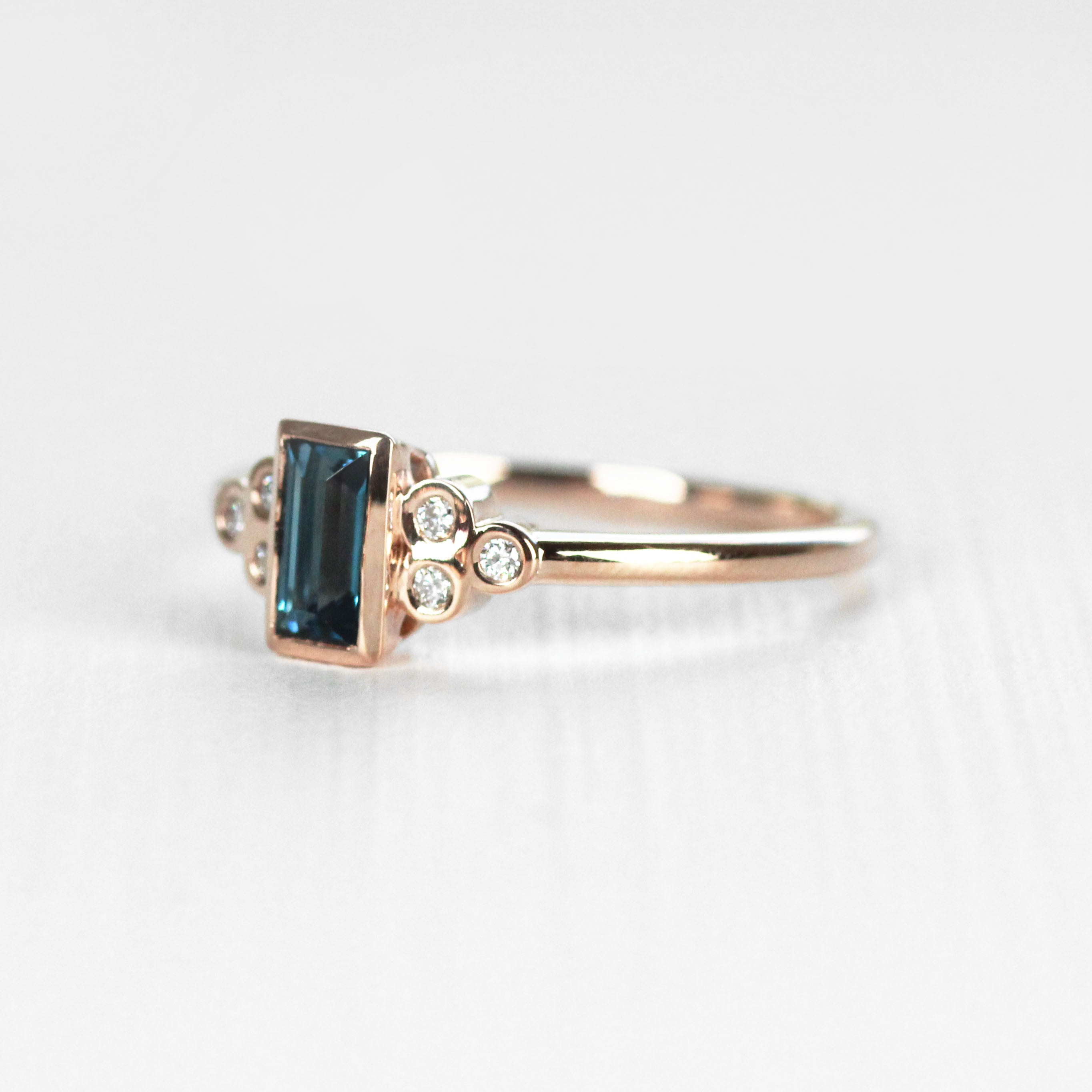 Sophia - London Blue Topaz in Rose Gold Ring - Made to order - Salt & Pepper Celestial Diamond Engagement Rings and Wedding Bands  by Midwinter Co.