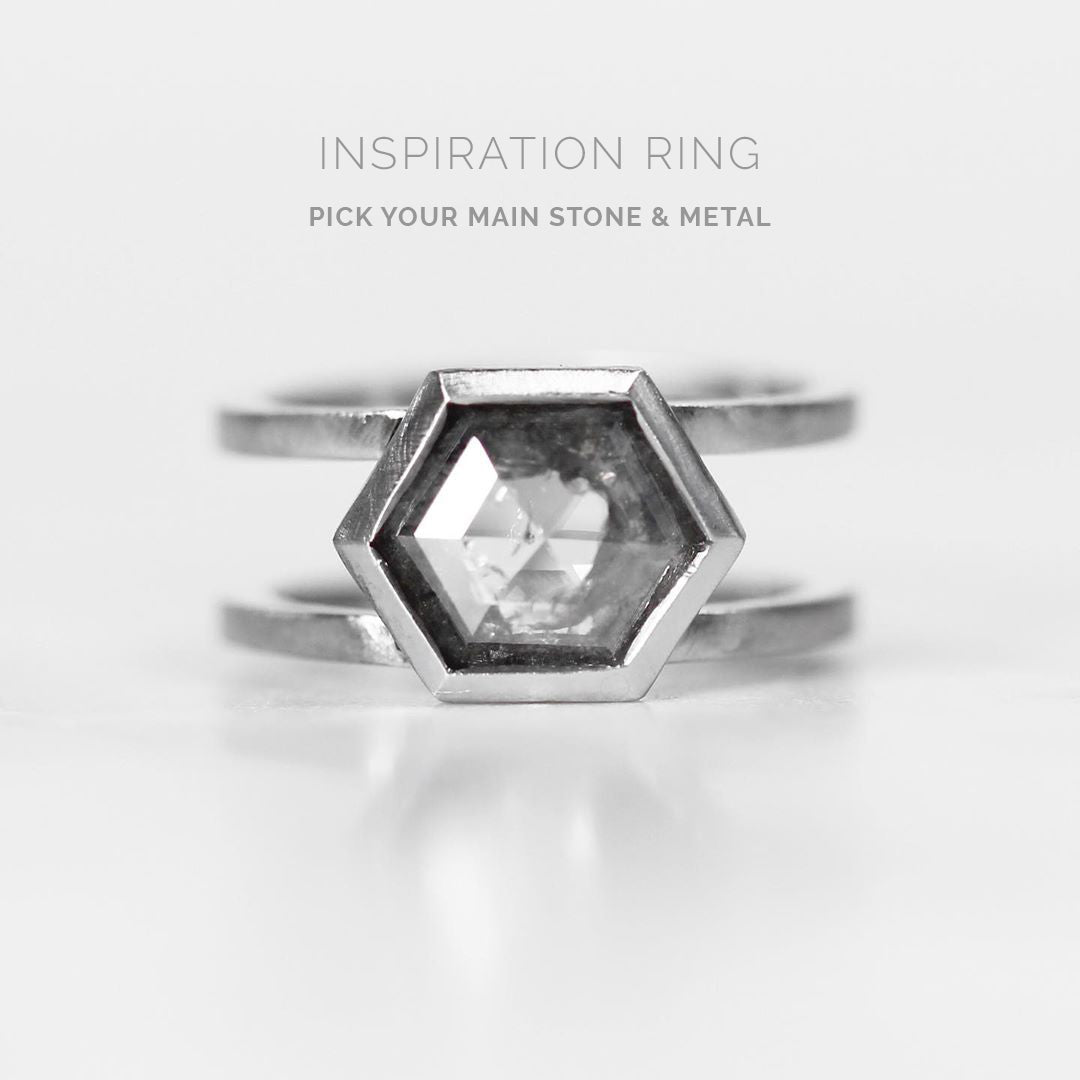 Inspiration Ring - Mae Setting - Choose your stone + metal - Midwinter Co. Alternative Bridal Rings and Modern Fine Jewelry