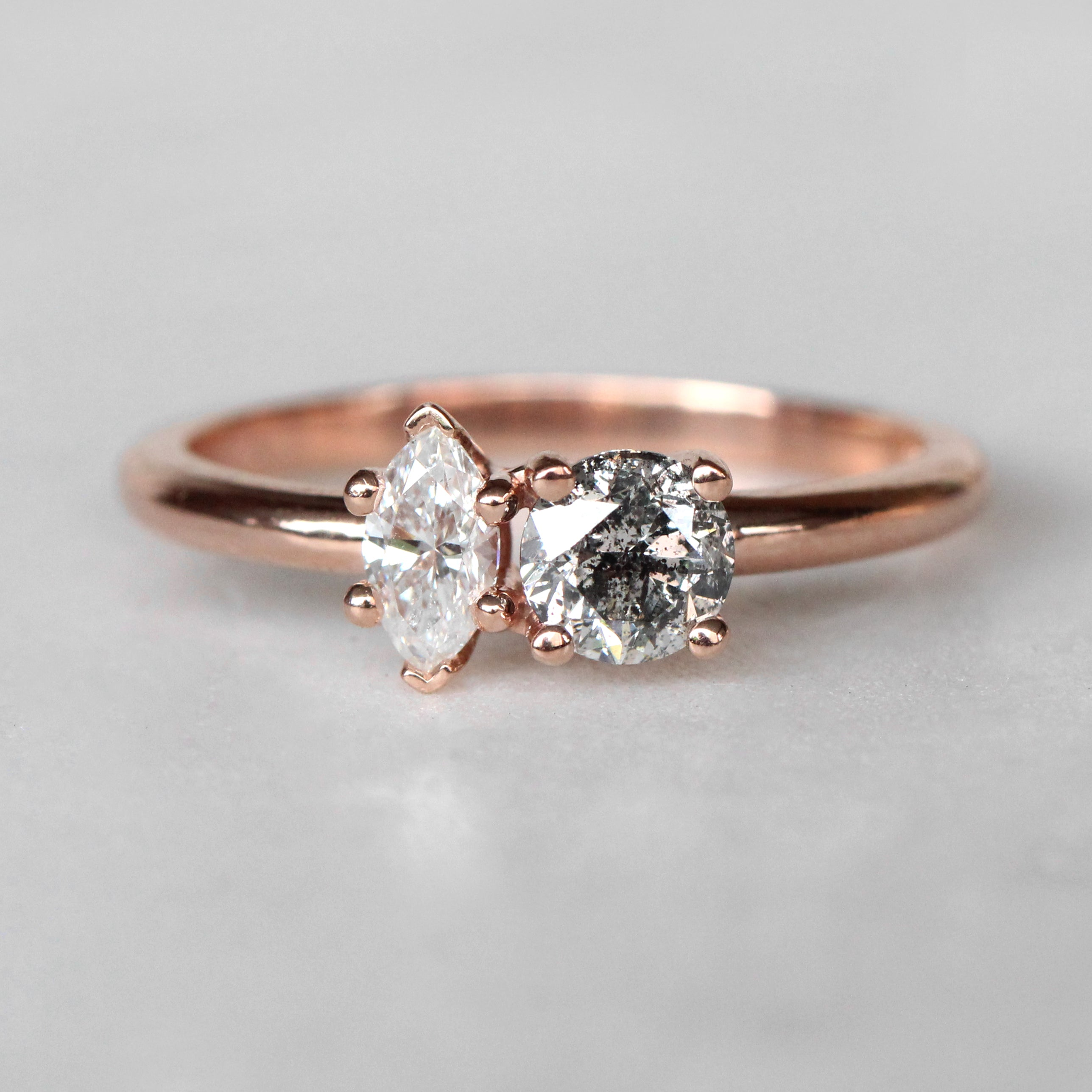 Maeve Ring with a Clear Marquise Diamond and Celestial Round Diamond in 10k Rose Gold - Ready to Size and Ship - Midwinter Co. Alternative Bridal Rings and Modern Fine Jewelry