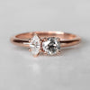 Maeve Ring with a Clear Marquise Diamond and Celestial Round Diamond in 10k Rose Gold - Ready to Size and Ship - Salt & Pepper Celestial Diamond Engagement Rings and Wedding Bands  by Midwinter Co.