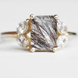 Marisol - Tourmalated Quartz Ring with White Accent Sapphires - 10k yellow gold - ready to size and ship