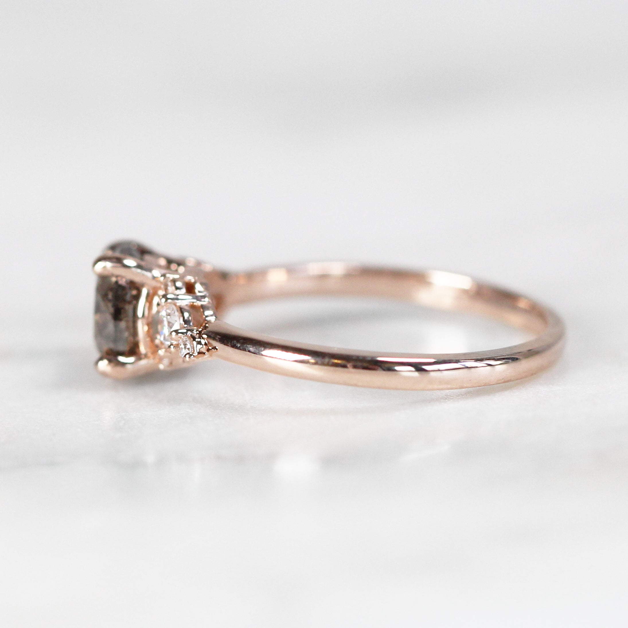 Marley Ring with 1.45 Carat Round Celestial Diamond® in 10k Rose Gold- Ready to Size and Ship - Celestial Diamonds ® by Midwinter Co.